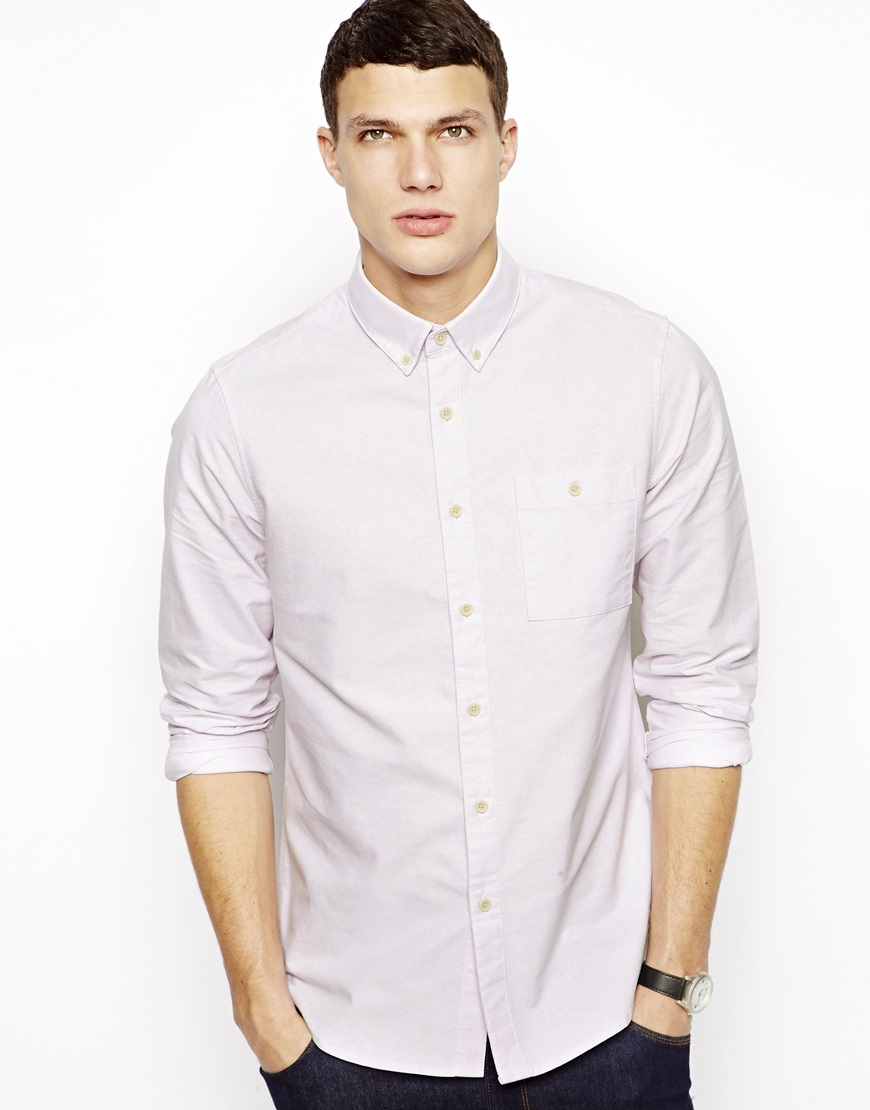 Asos oxford shirt in long sleeve in pink for men for Pink oxford shirt men