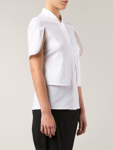 Yigal azrou l cut out sleeve layered shirt in white lyst for French cut shirt sleeve