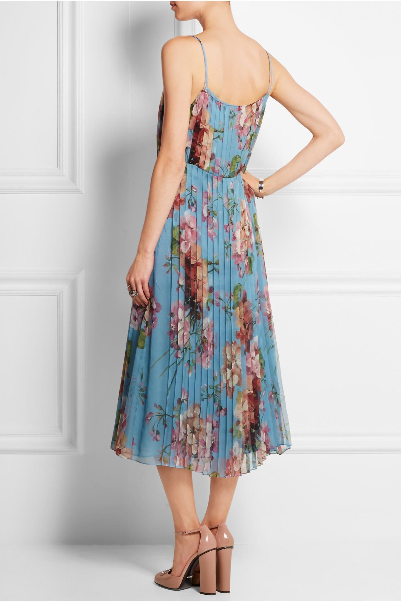 Lyst - Gucci Pleated Floral-print Stretch-silk Dress in Blue