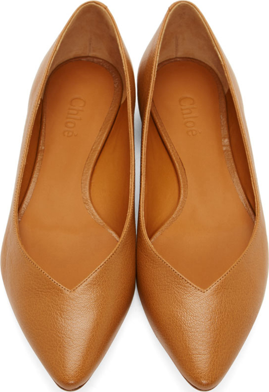 best website watch online store Chloé Cognac Leather Pointed Flats in Brown - Lyst