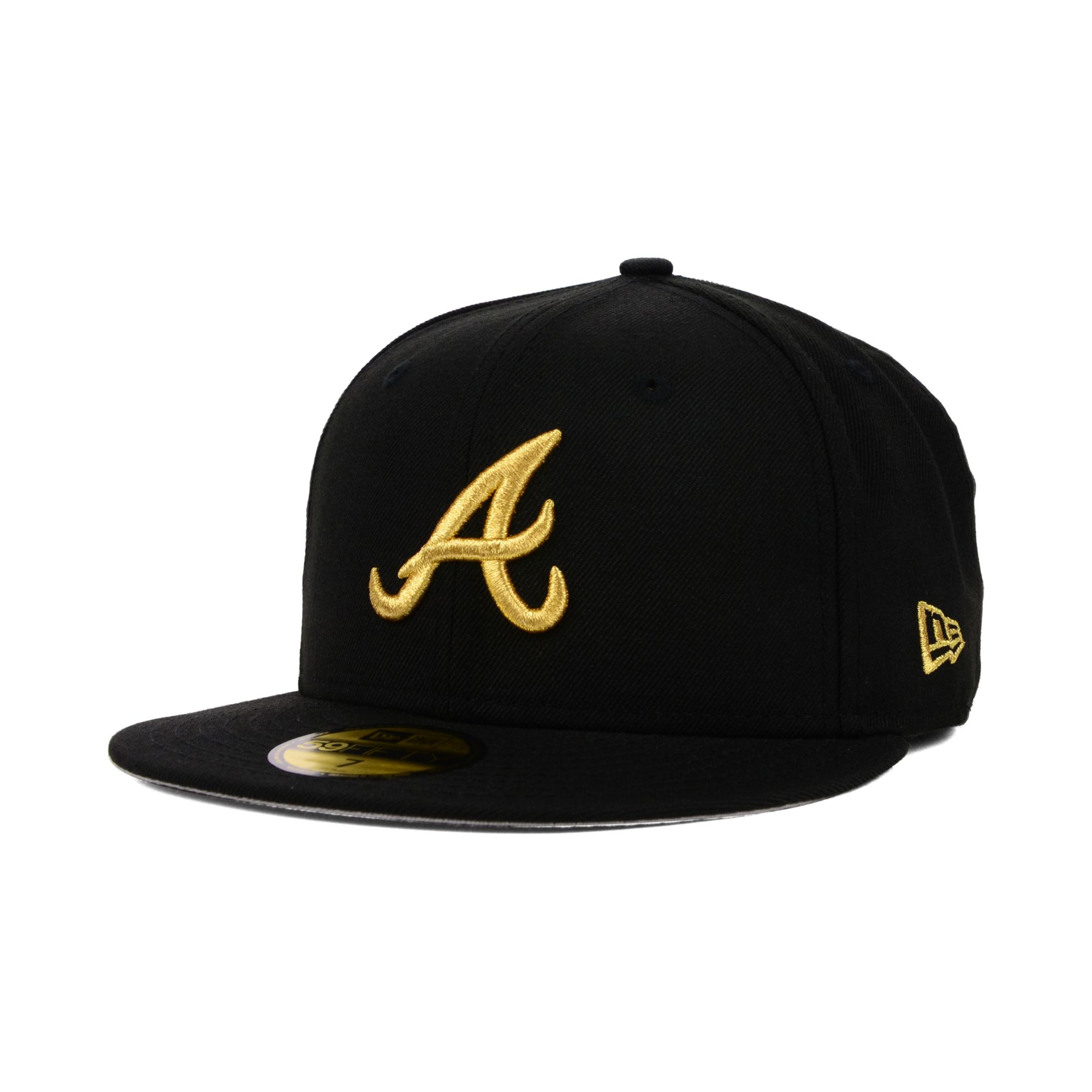 outlet store f277c 5520c ... diamond era 59fifty fitted hat 6abe2 5d6ca  spain lyst ktz atlanta  braves gold 59fifty cap in black for men f2f77 8d479