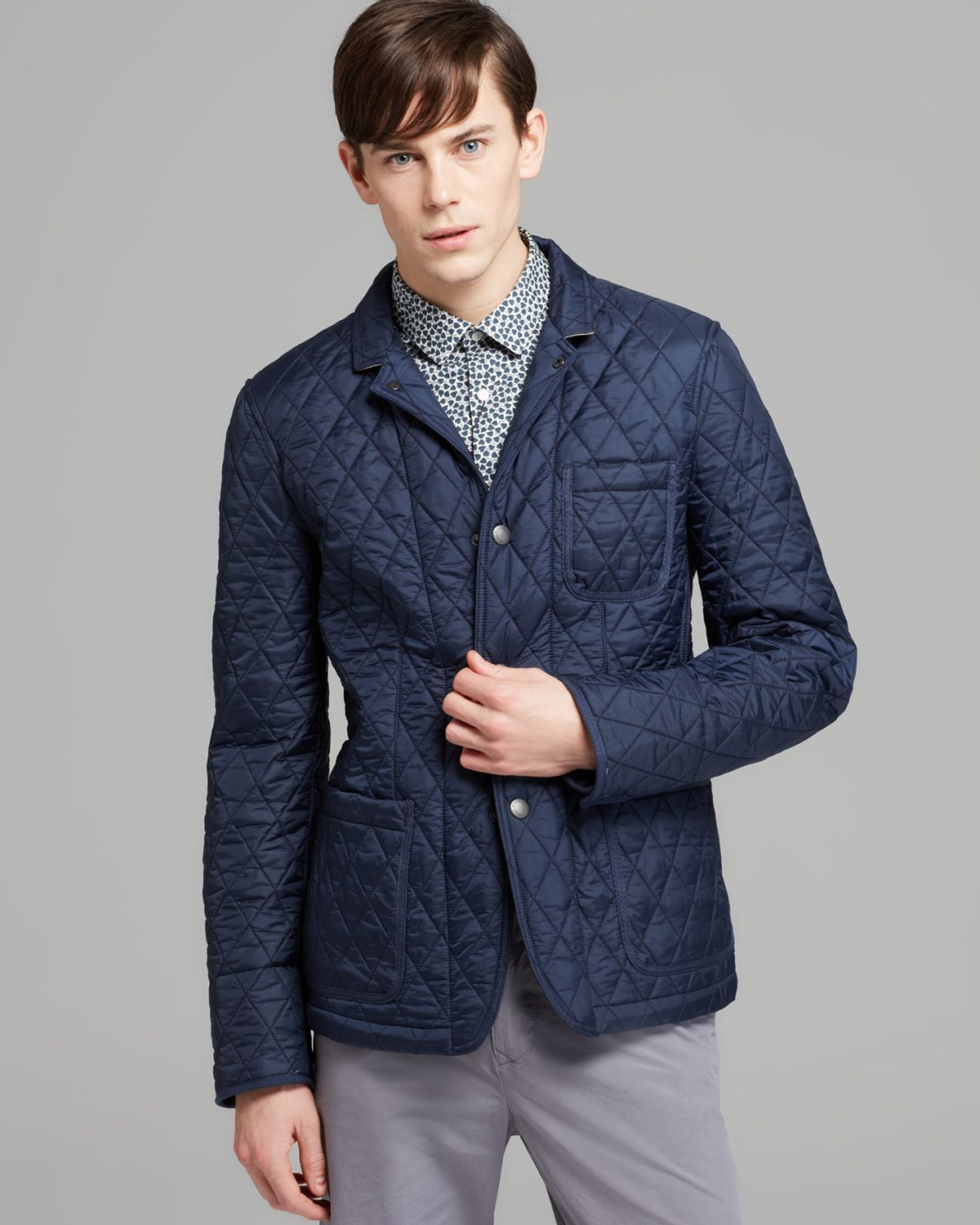Burberry Brit Howe Quilted Blazer Jacket In Blue For Men