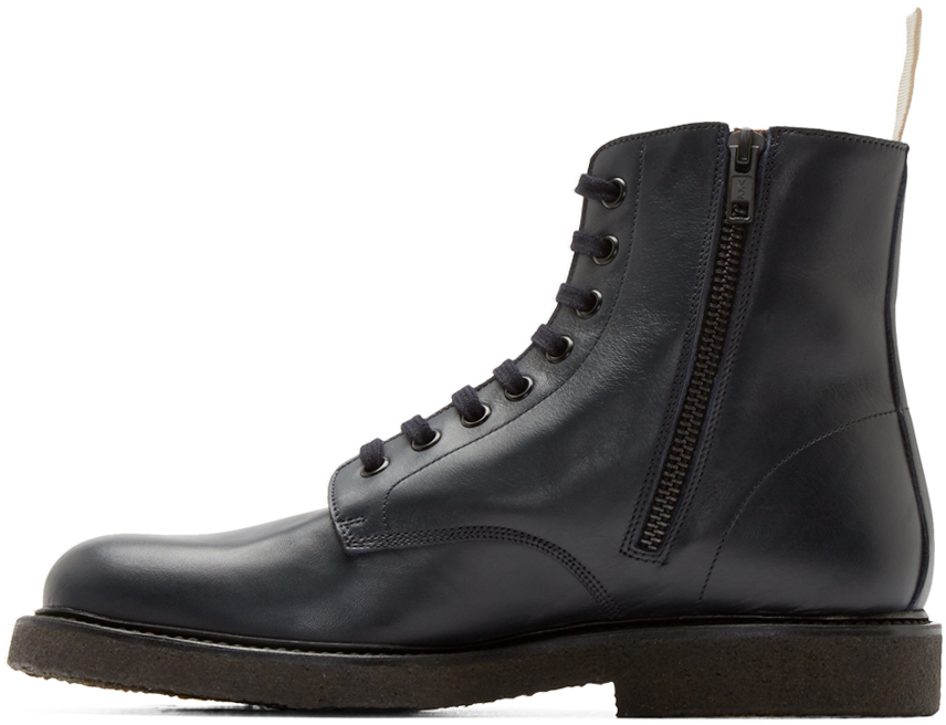 Lyst Common Projects Navy Leather Combat Boots In Blue