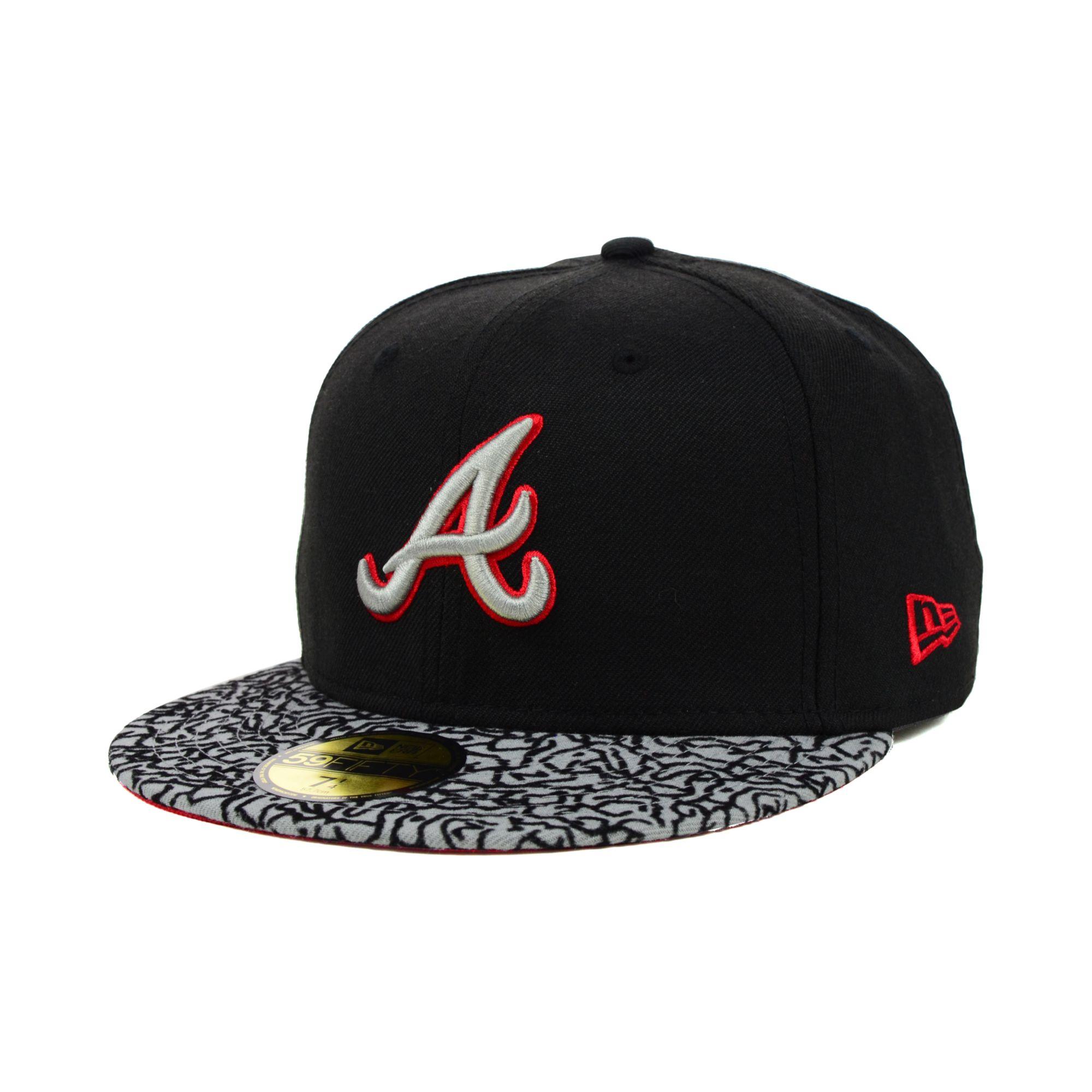 Braves Hats: New Era Atlanta Braves Eprint 59fifty Cap In Black For Men
