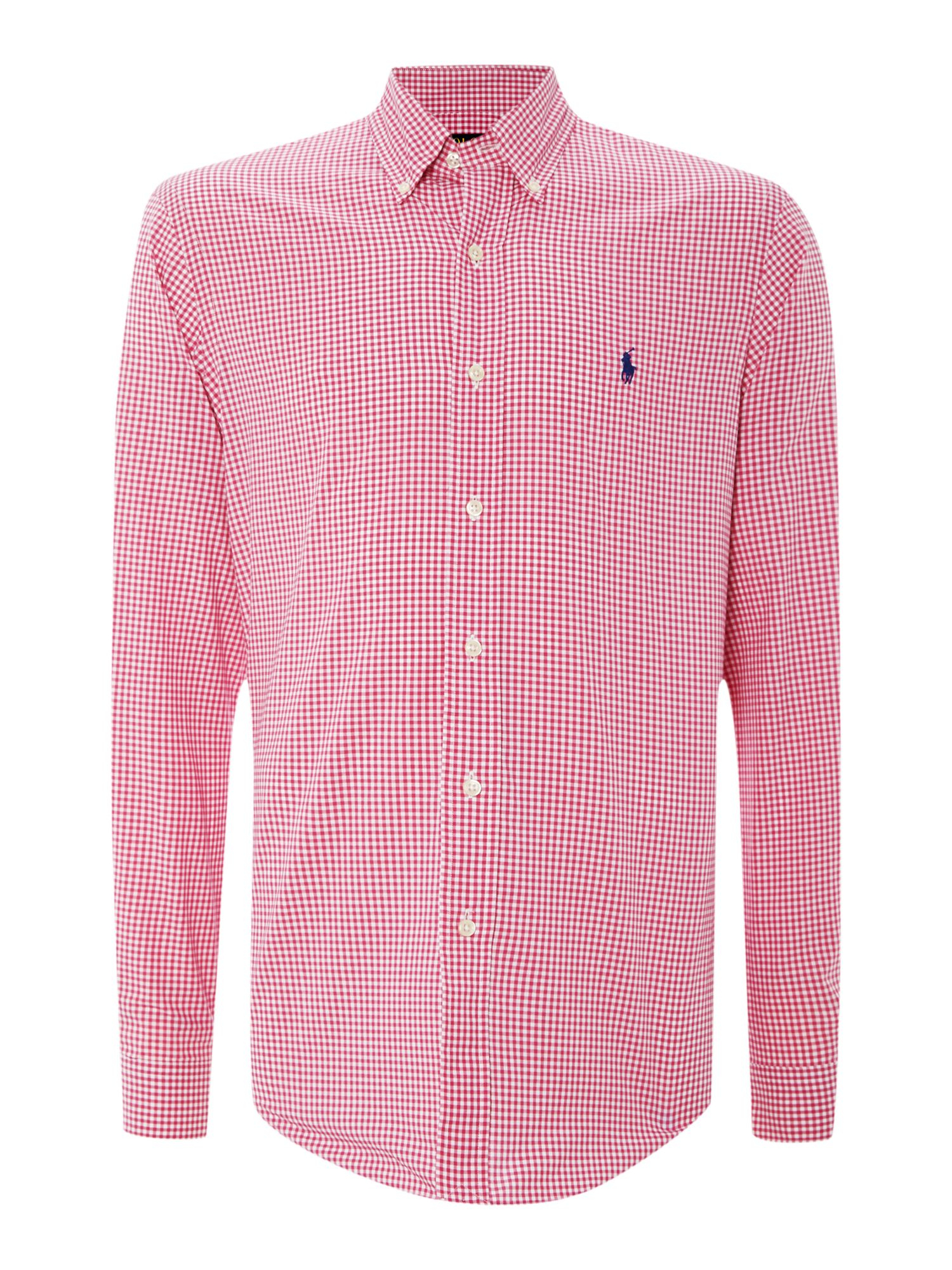 Polo ralph lauren long sleeve slim fit mini gingham shirt for Slim fit gingham check shirt