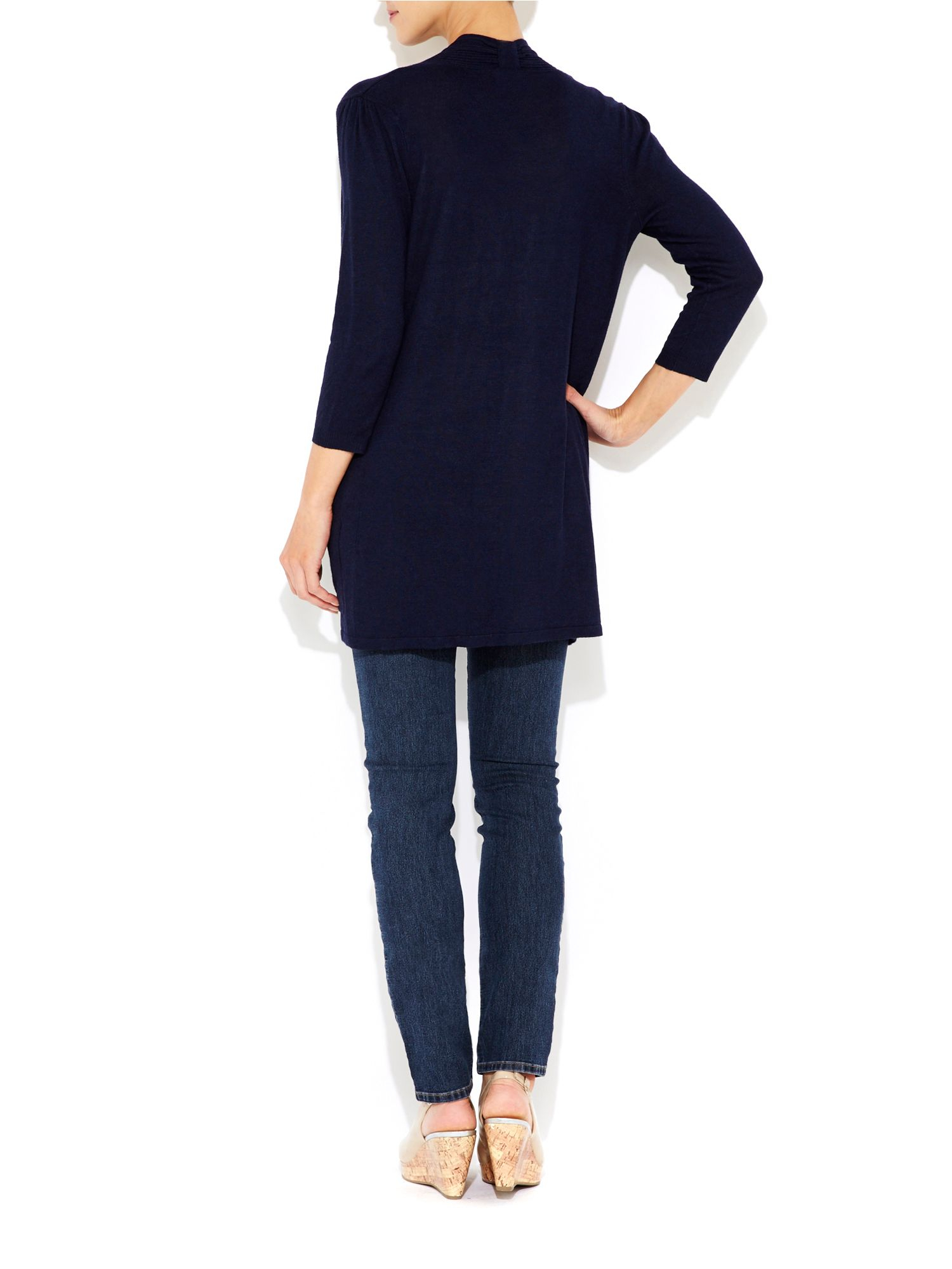 Wallis Navy Blue Longline Cardigan in Blue | Lyst