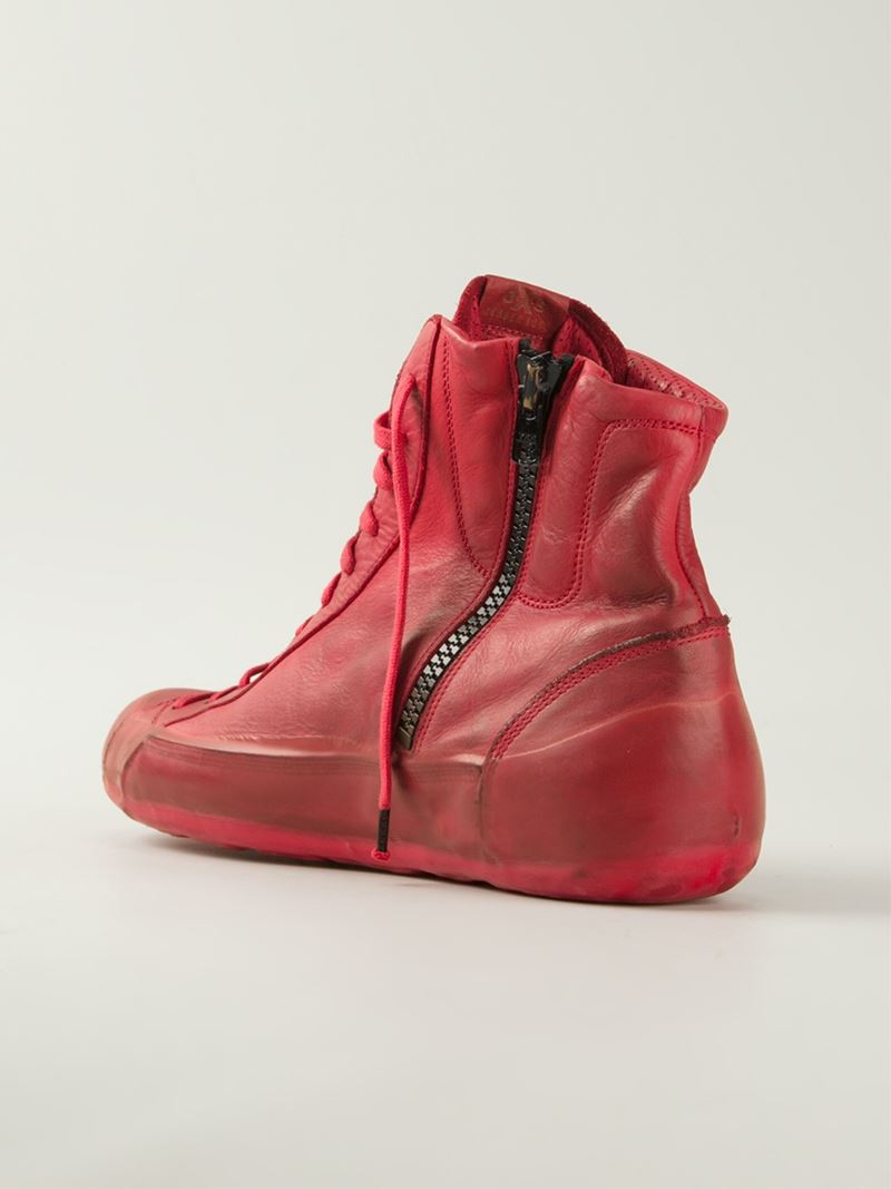 Oxs Rubber Soul Polacco High-Top Sneakers in Red