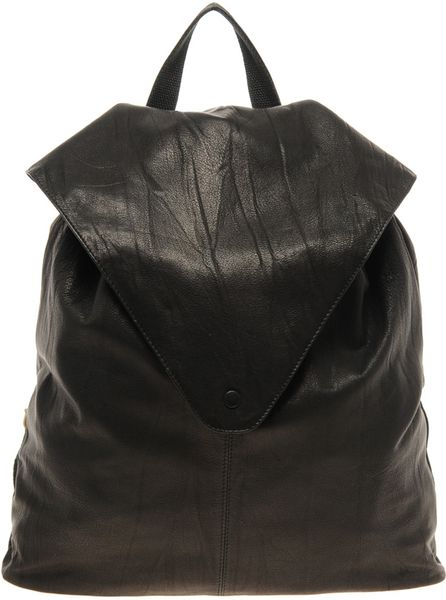 Asos Leather Backpack with Pointed Flap in Black