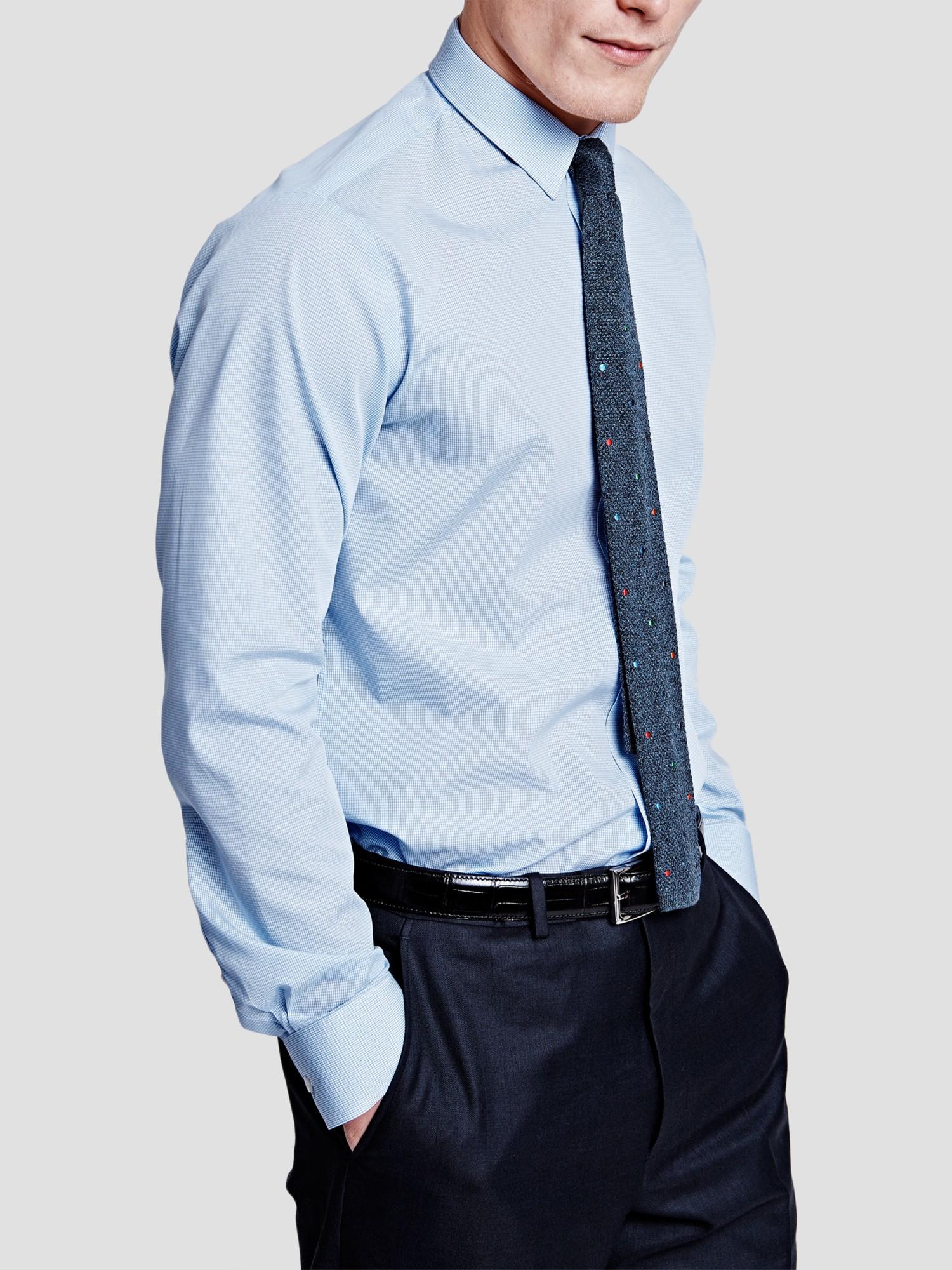 Thomas Pink Cotton Hicks Check Super Slim Shirt in Pale Blue/White (Blue) for Men