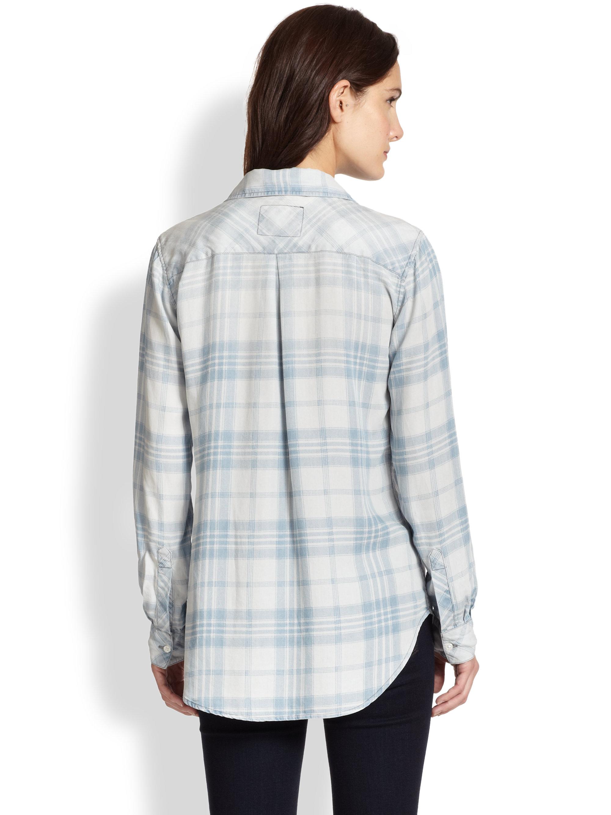 Lyst rails liam plaid chambray shirt in gray for Grey plaid shirt womens
