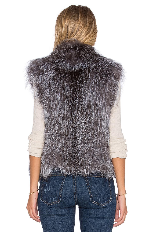 June Knitted Fox Fur Vest In Gray Lyst