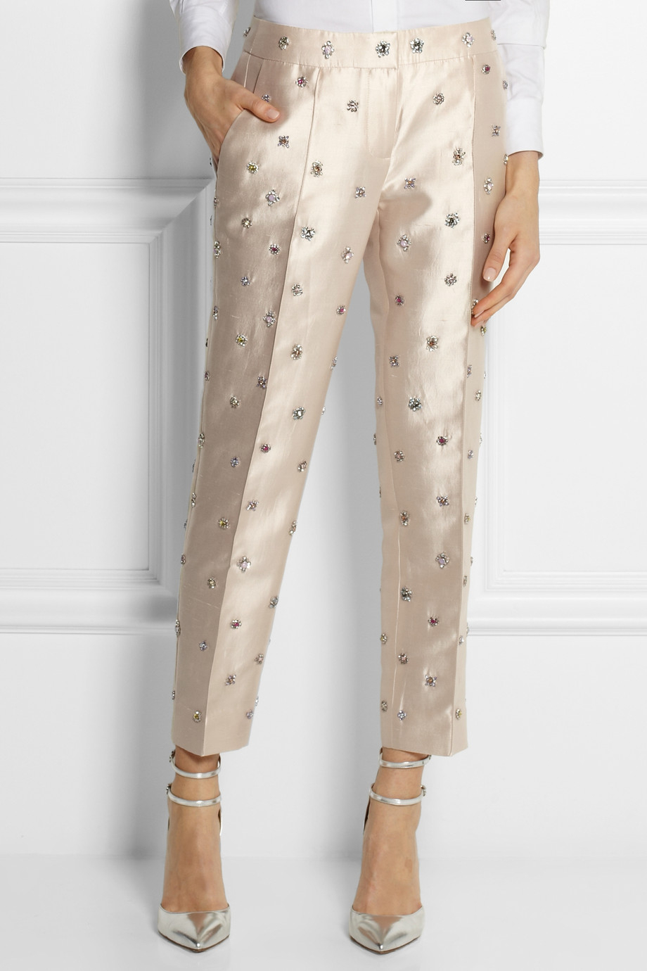 Lyst J Crew Collection Embellished Shantung Straight Leg