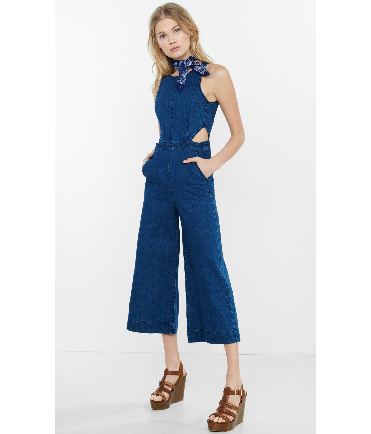 Express Sleeveless Denim Cut Out Culotte Jumpsuit In Blue