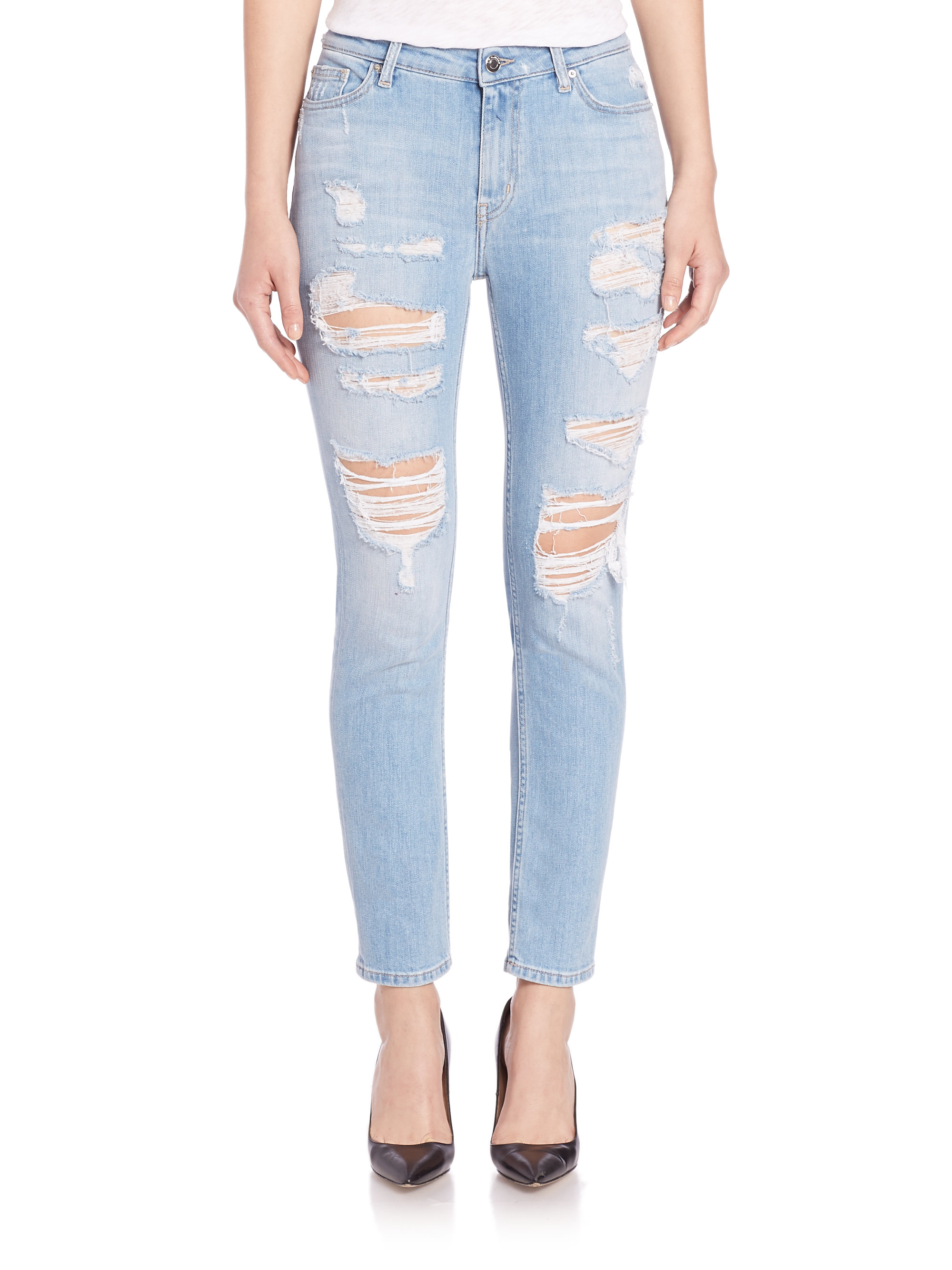 Iro Mandy Distressed Jeans in Blue | Lyst