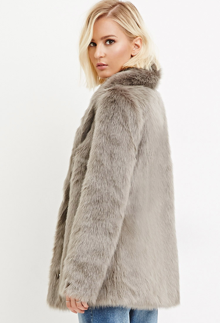 Lyst Forever 21 Shawl Collar Faux Fur Coat In Gray