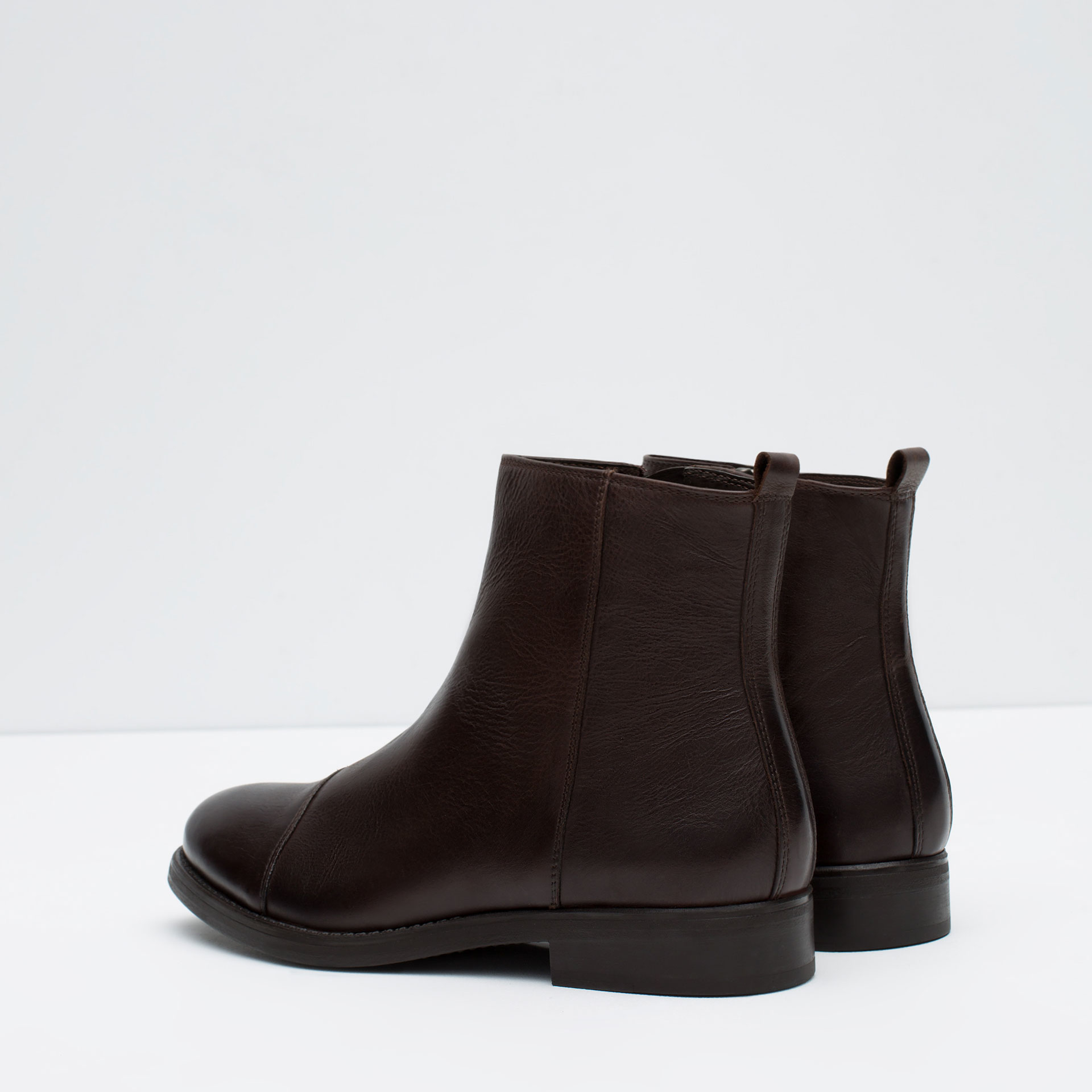 zara zipped leather boots in brown for lyst