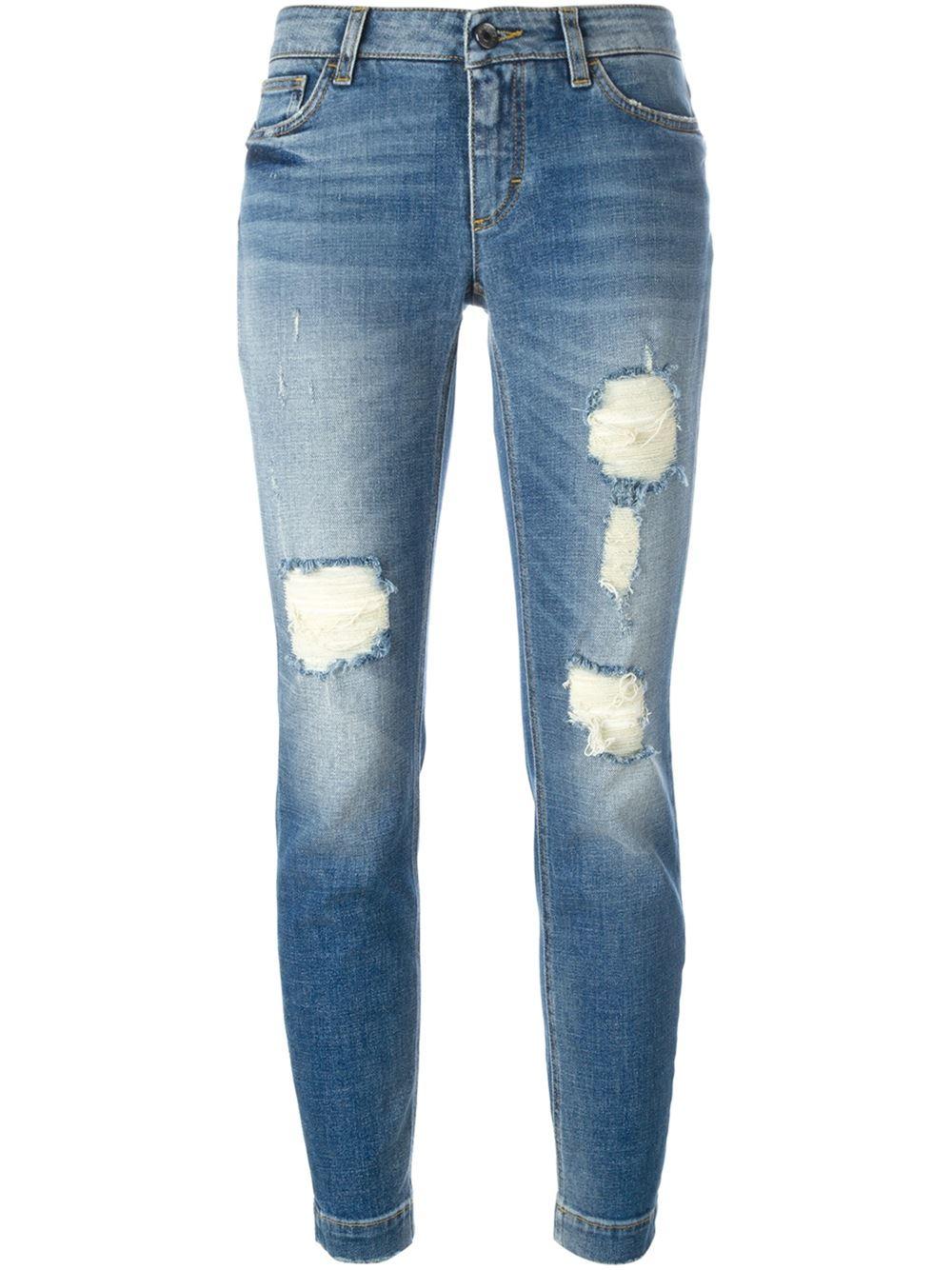 dolce gabbana distressed jeans in blue lyst. Black Bedroom Furniture Sets. Home Design Ideas