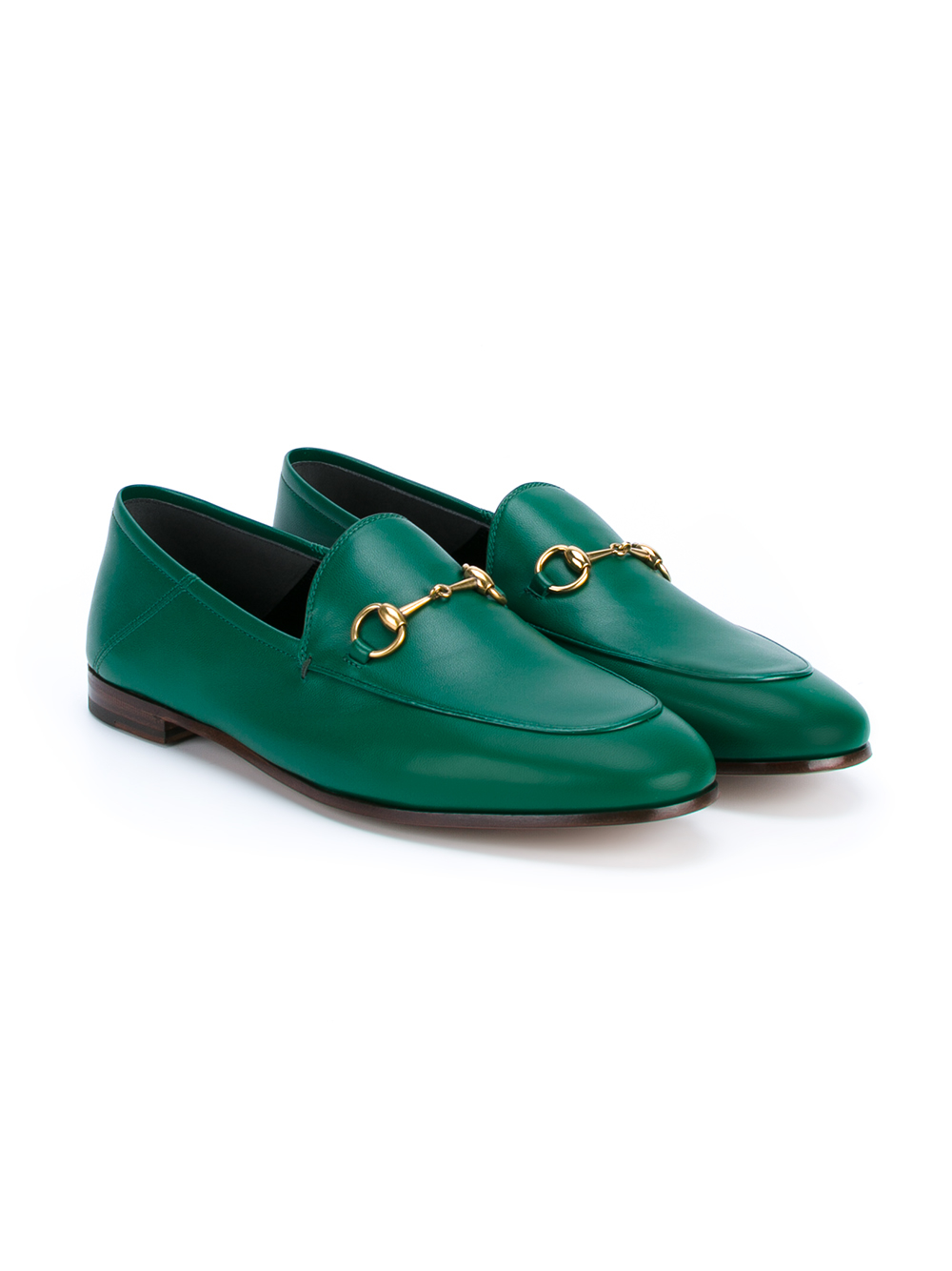 Gucci Leather Jordaan Loafers in Green