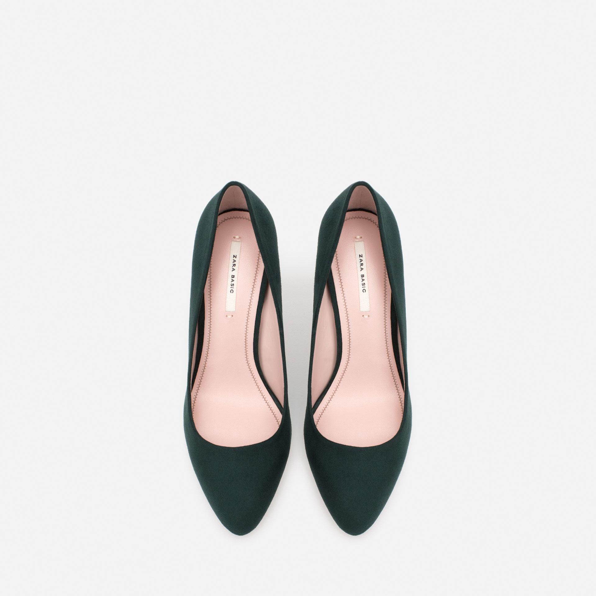zara high heel court shoes in green lyst
