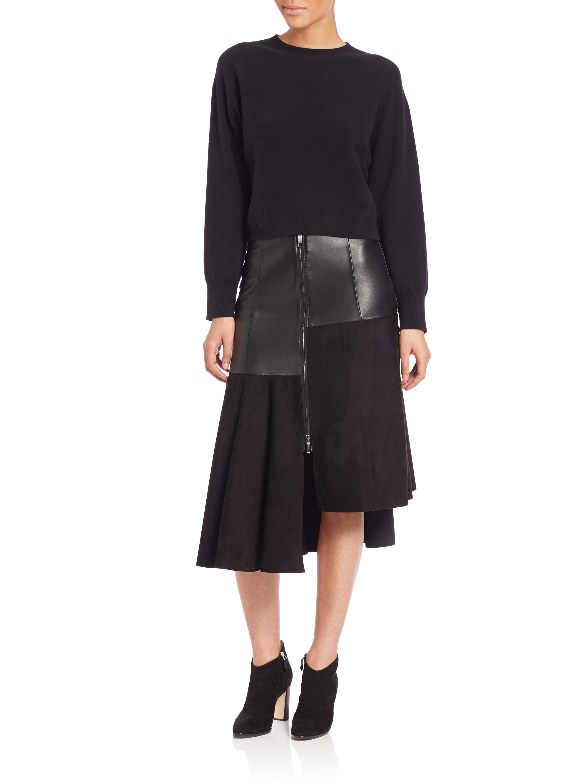 sportmax leather suede asymmetrical skirt in black