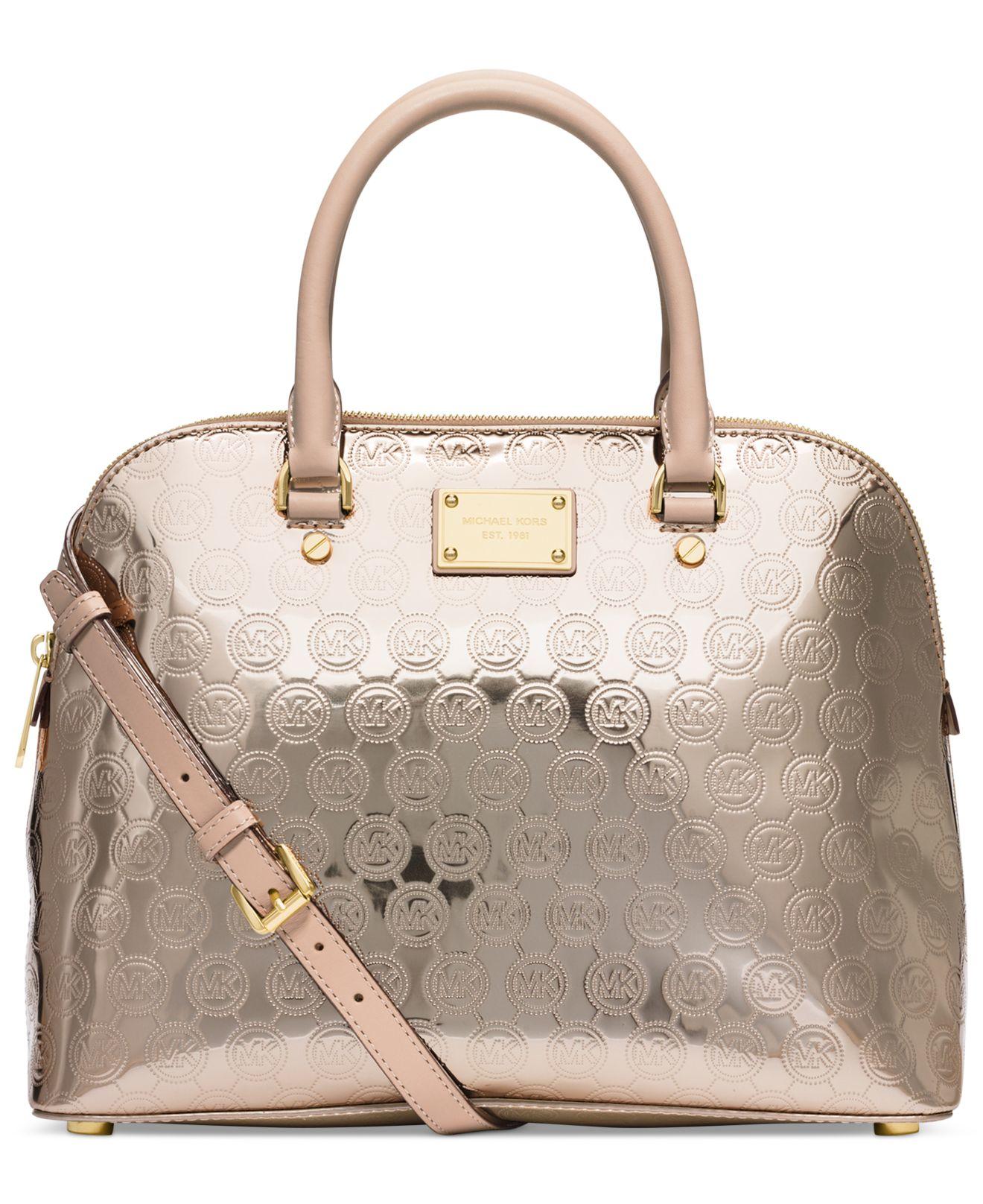 Michael Kors Cindy Laukku : Michael kors cindy medium dome satchel in brown lyst