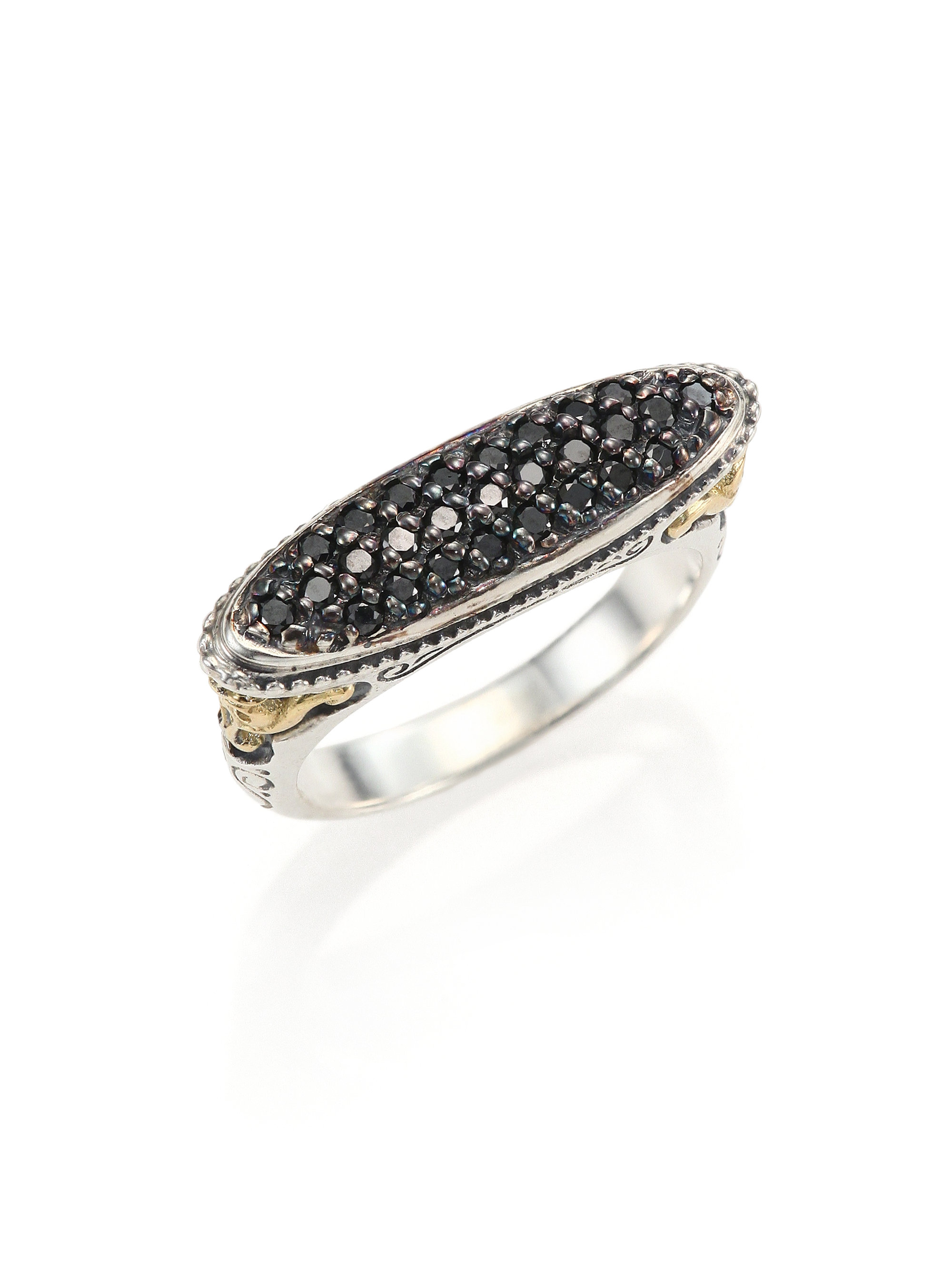 Lyst konstantino asteri black diamond 18k yellow gold for Mercedes benz 18k gold ring