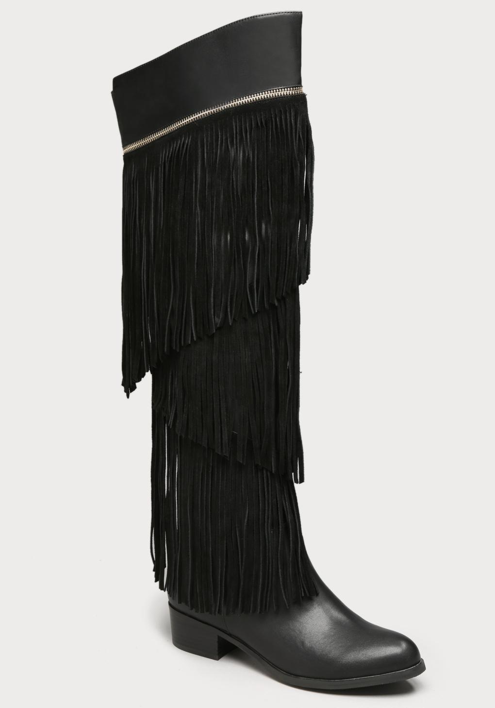 bebe pamelia fringe flat boots in black lyst