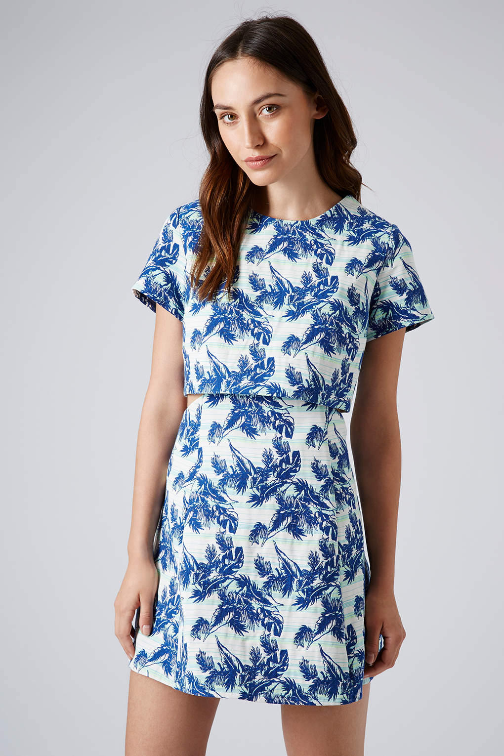 Topshop womens tropical leaf crop dress bright blue in for Womens denim shirts topshop