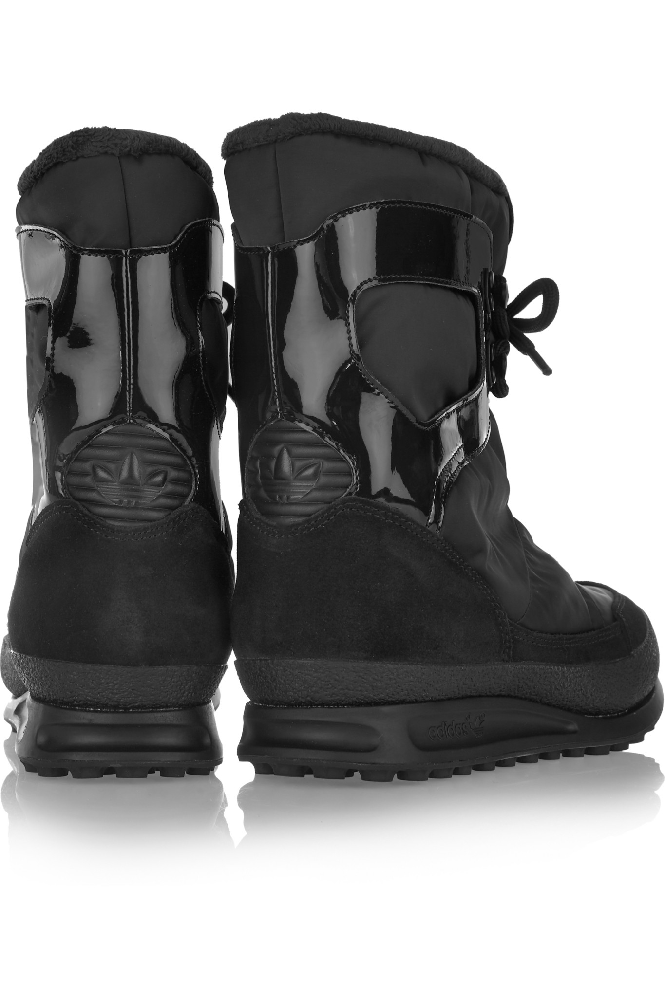adidas Originals Snowrush Shell, Patent-leather And Suede Snow Boots in Black