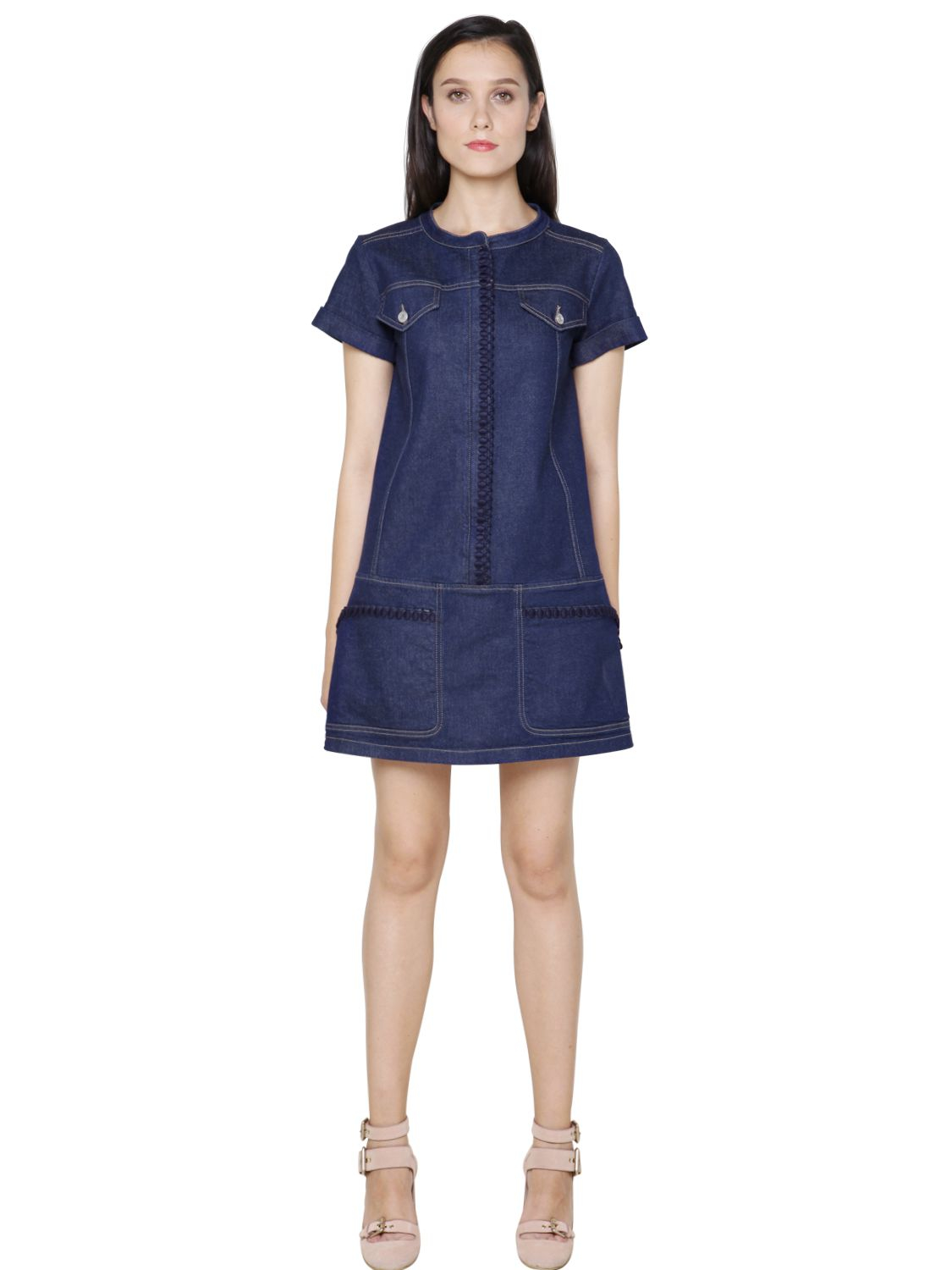 Lyst see by chloé embroidered cotton denim dress in blue