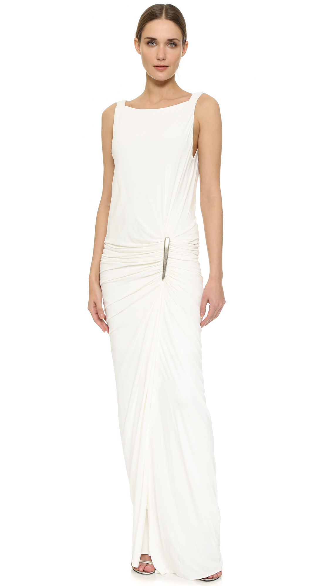 Lyst Donna Karan Floor Length Sleeveless Gown In White