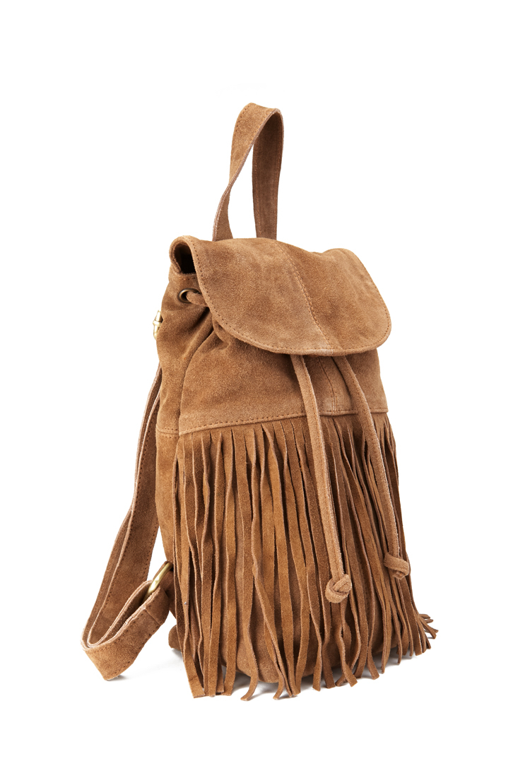 Forever 21 Fringed Suede Backpack In Brown Lyst
