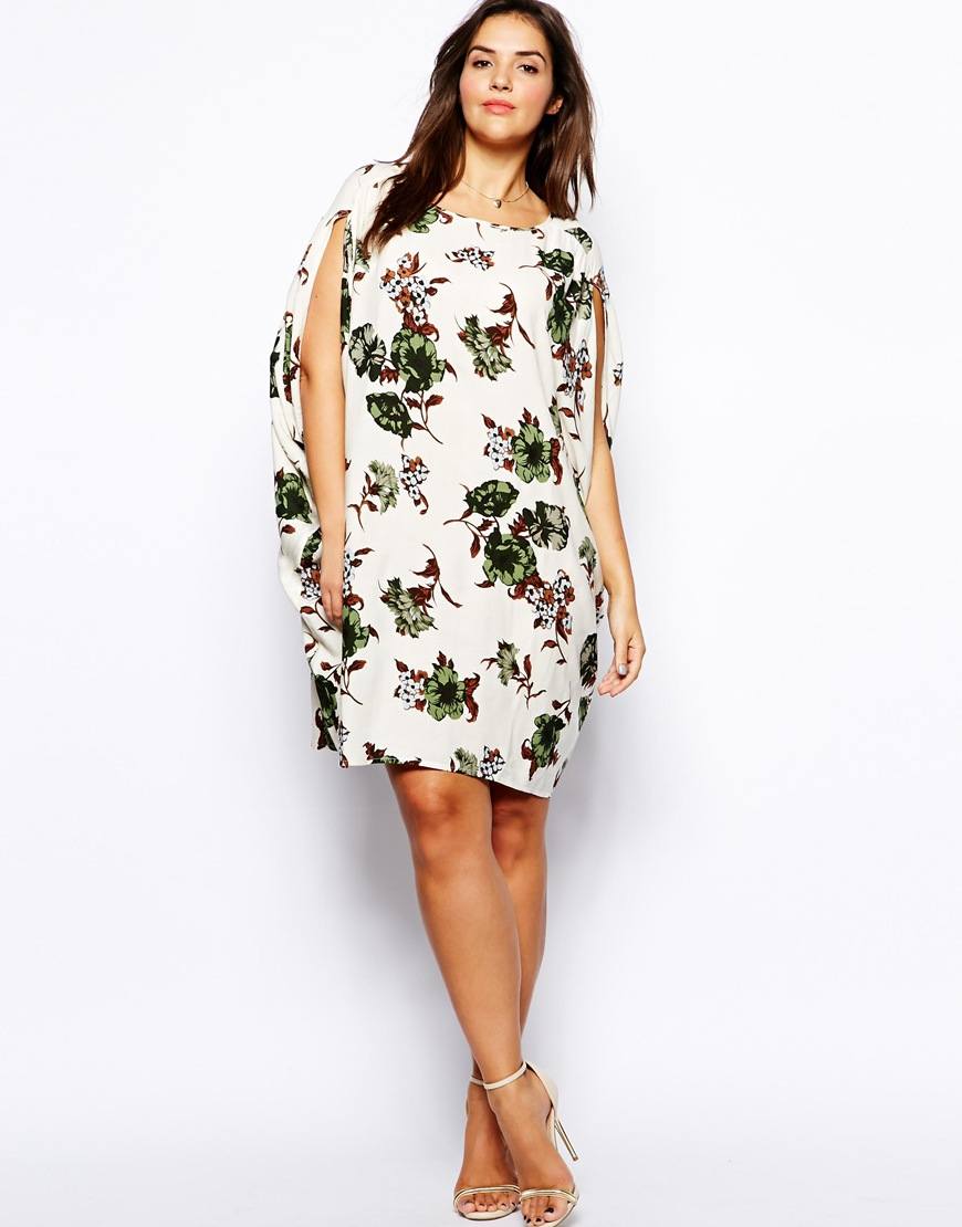 Lyst - Asos Exclusive Batwing Dress with Cold Shoulder in Hawaiian Print