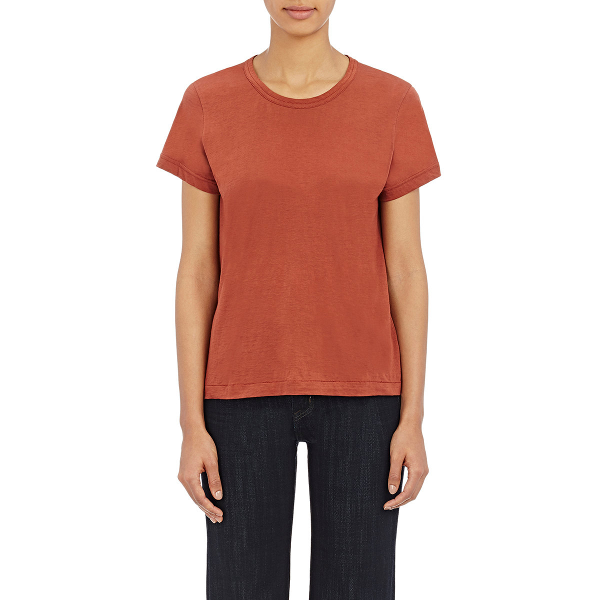 helmut lang women 39 s crewneck t shirt in orange lyst. Black Bedroom Furniture Sets. Home Design Ideas