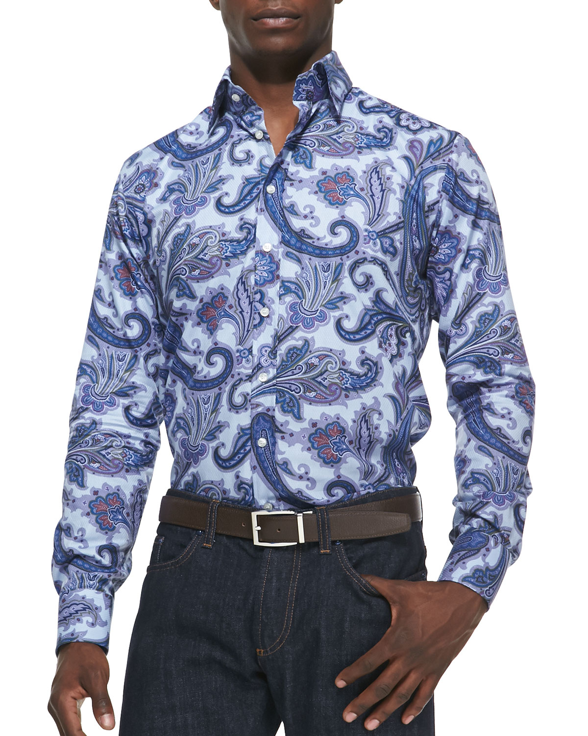 etro textured paisley sport shirt in blue for men lyst