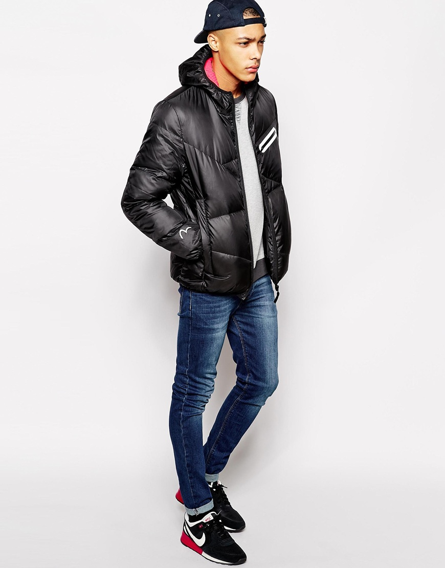 5f411259c922 Lyst - Evisu Quilted Hooded Jacket Packable With Inner Travel Straps ...