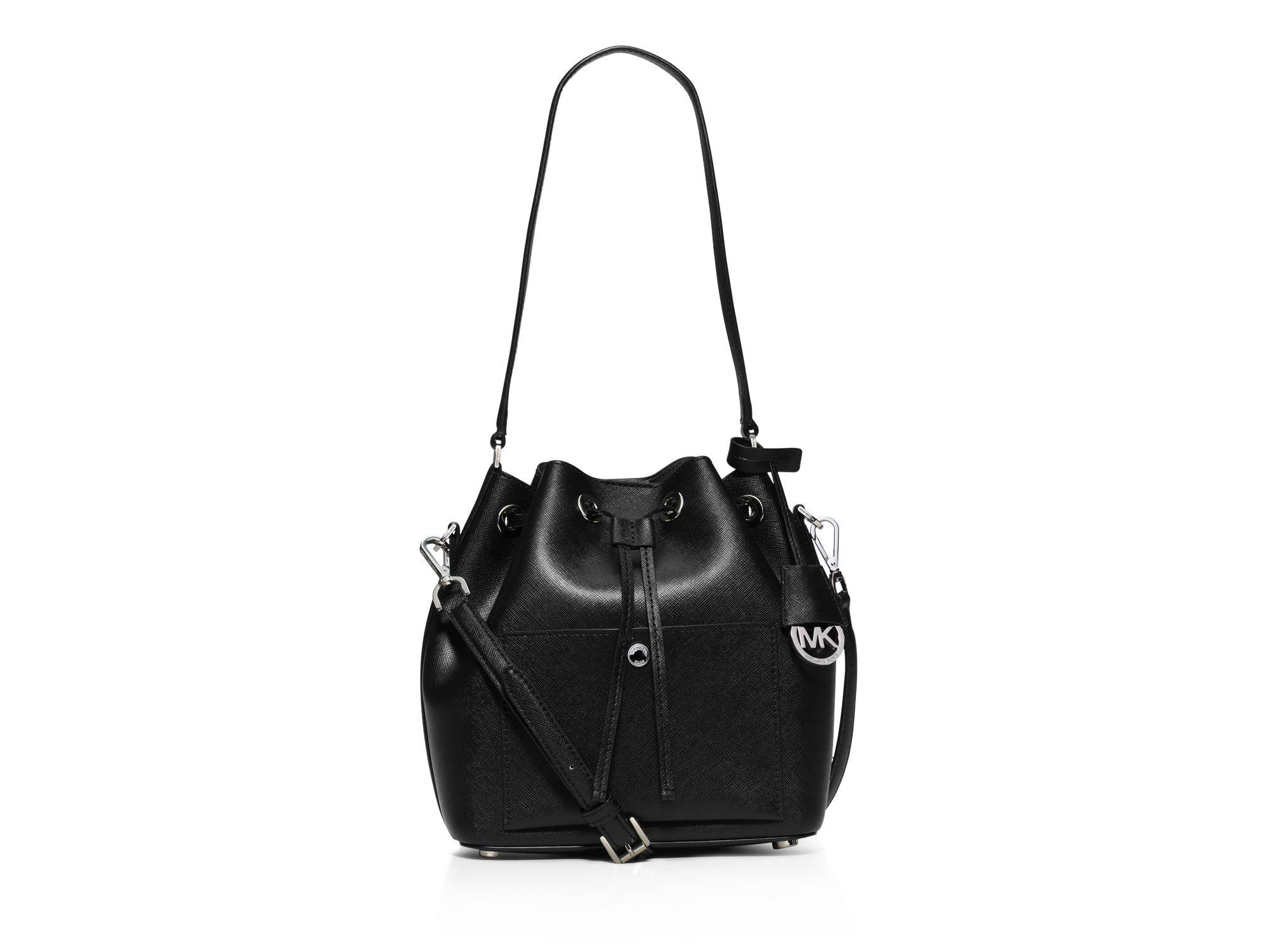 Lyst - MICHAEL Michael Kors Greenwich Medium Bucket Bag in Black b56982062467b