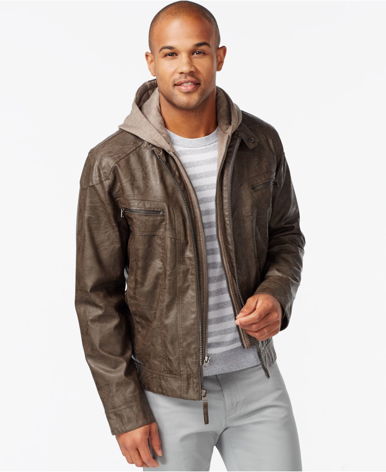 Big Tall Faux Leather Bomber Hoodie