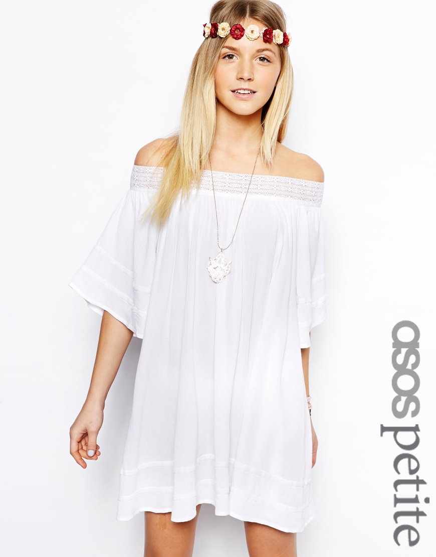 3f3c20c9510d Lyst - ASOS Swing Dress with Off Shoulder in Cheesecloth in White