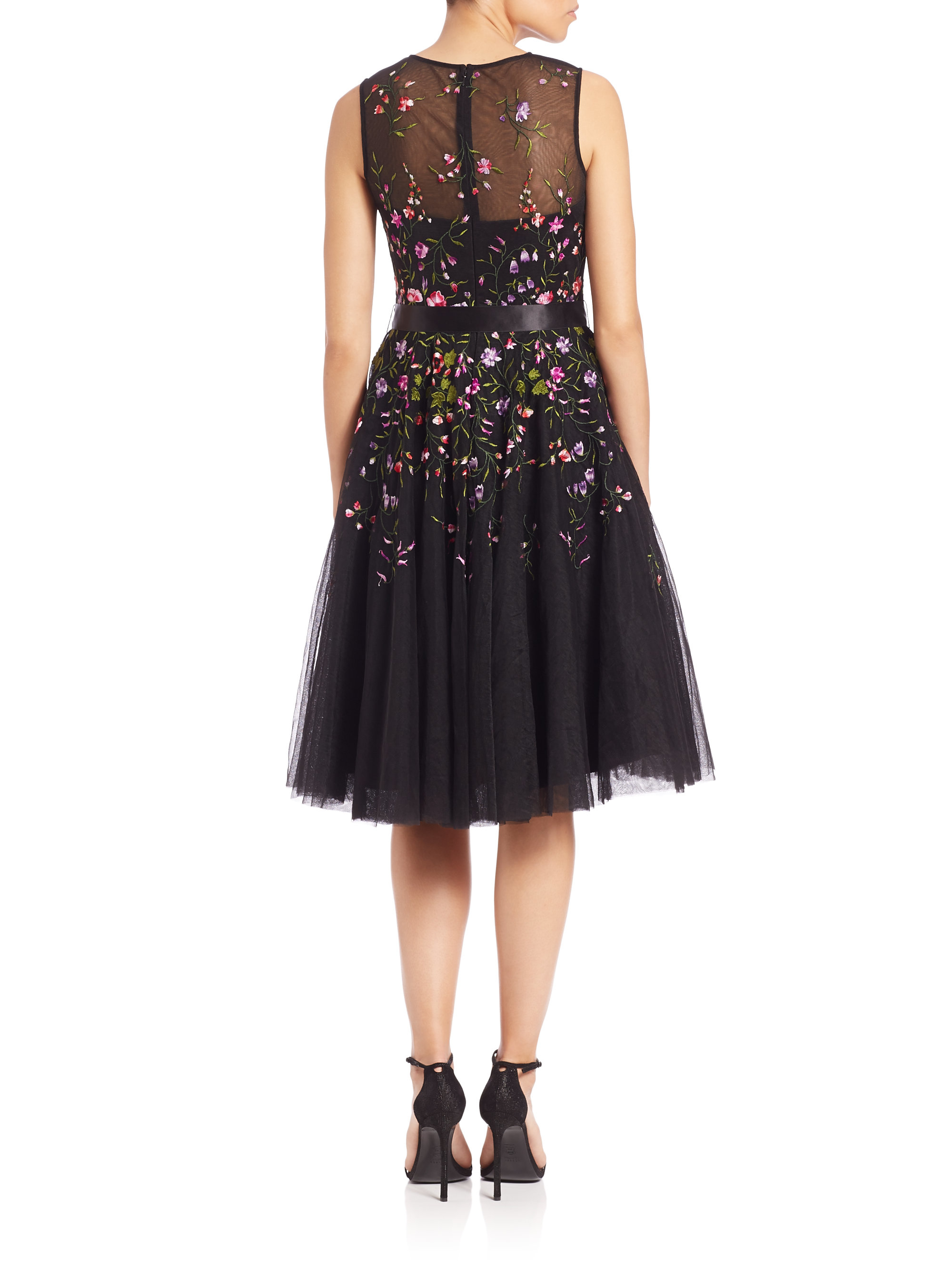 Lyst Teri Jon Embroidered Tulle Dress In Black