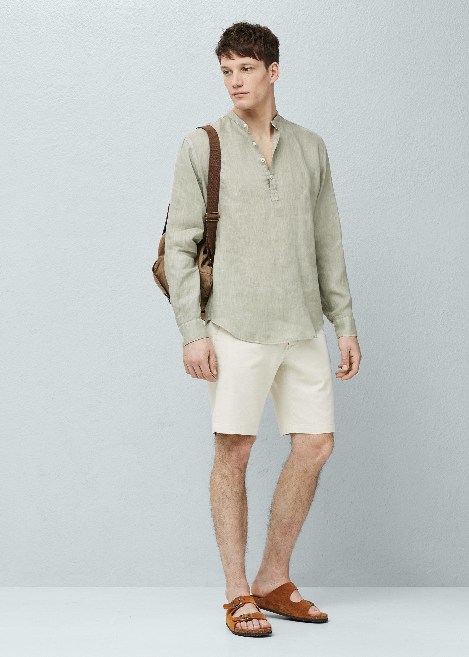 mango regular fit mao collar linen shirt in natural for men lyst. Black Bedroom Furniture Sets. Home Design Ideas