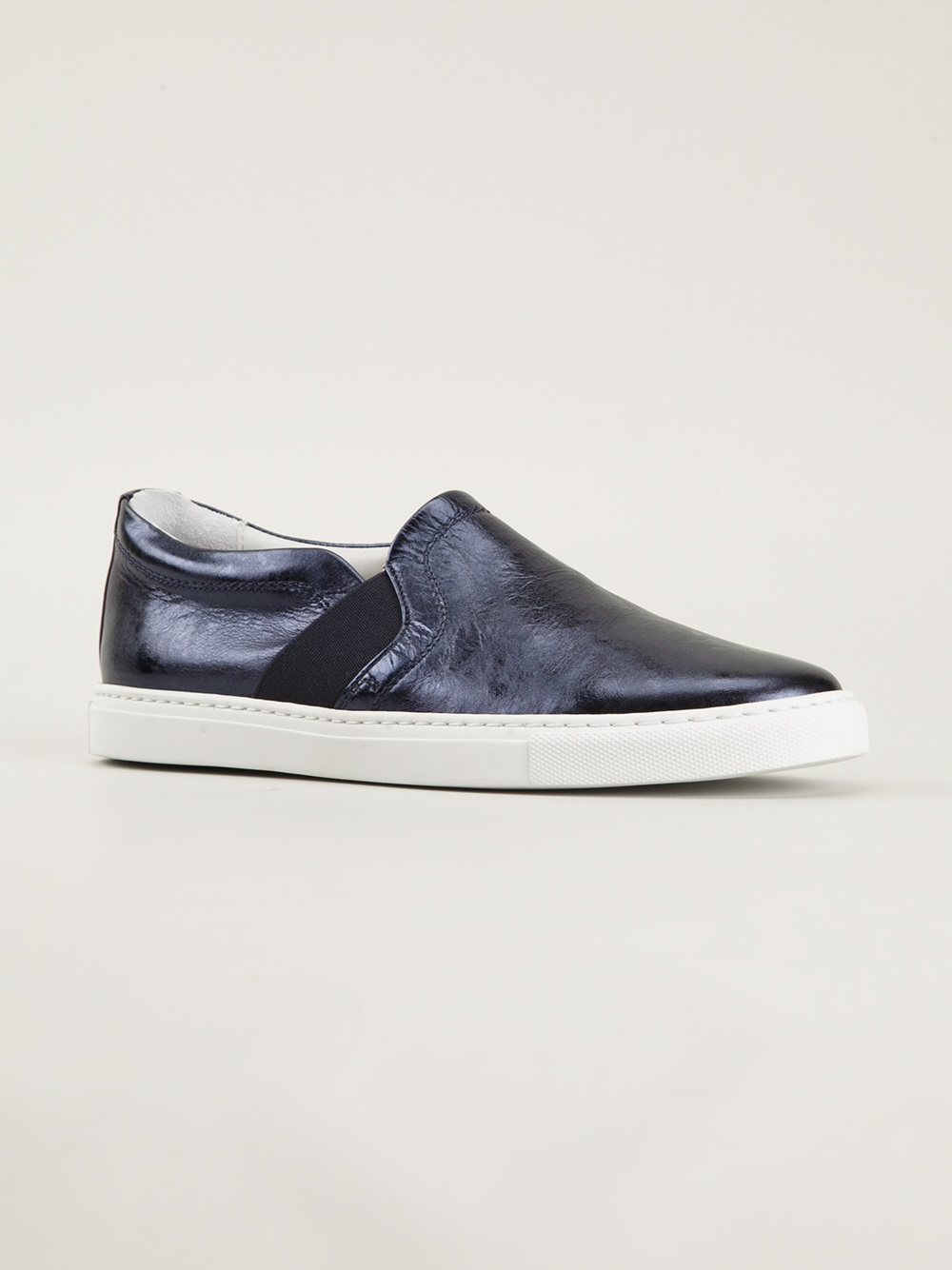 53264a761f71e4 Lanvin Metallic Skate Sneakers in Blue - Lyst
