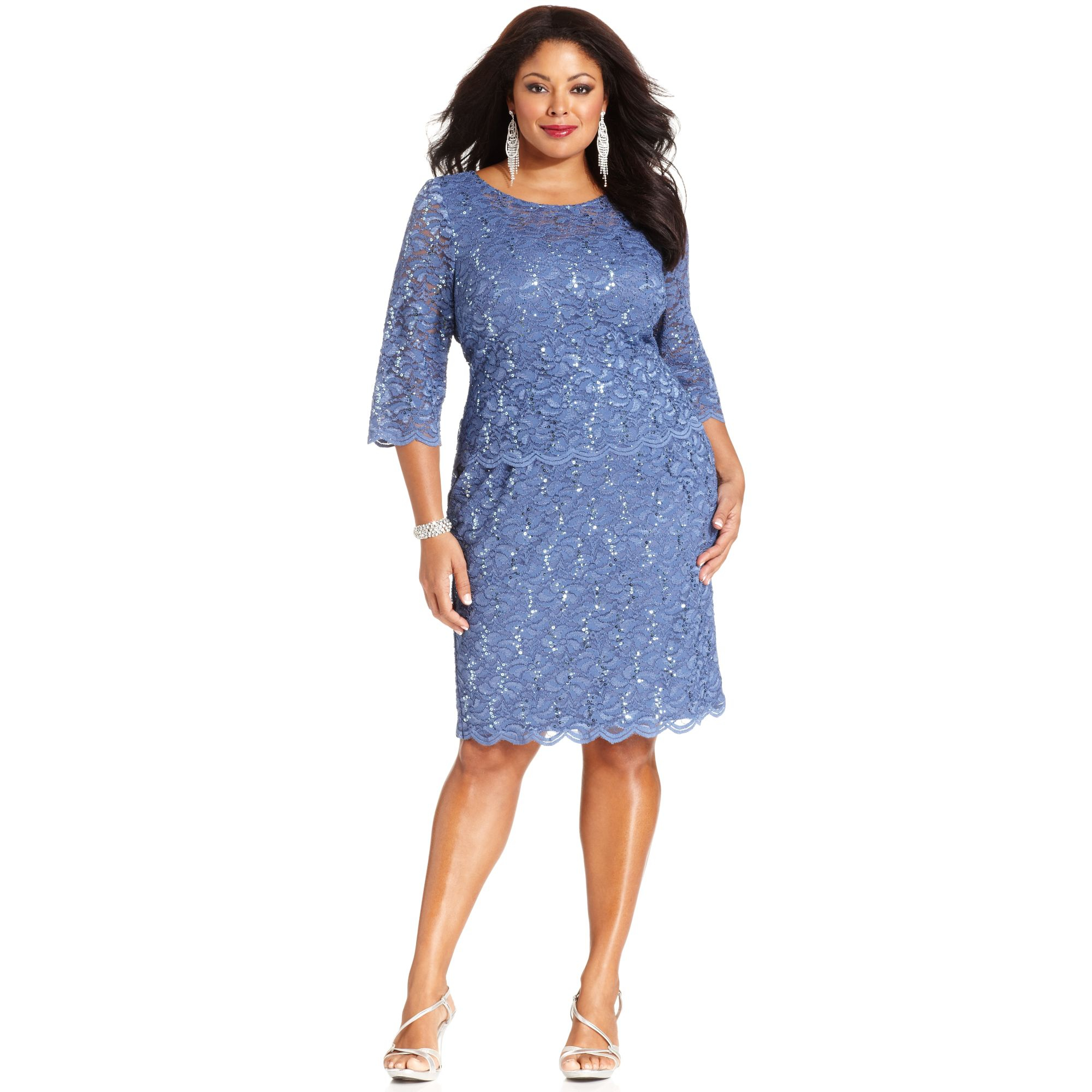 Plus Size Sequined Lace Dress