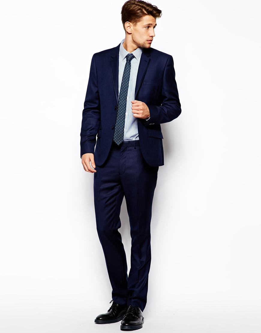 French connection Slim Fit Suit Trouser Basket Weave in Blue for