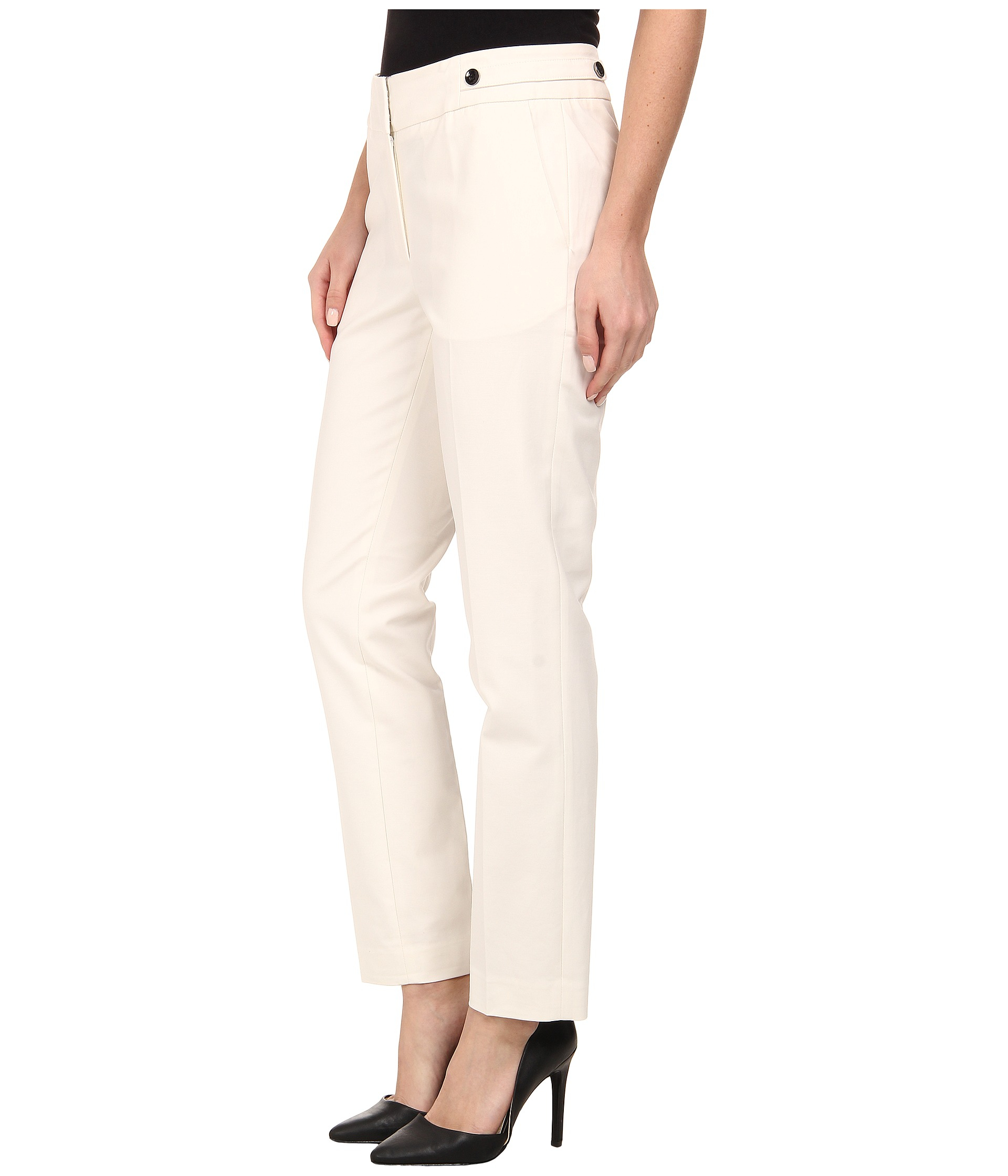 Adrianna Papell Kate Fit Pant W Side Tabs In White Lyst