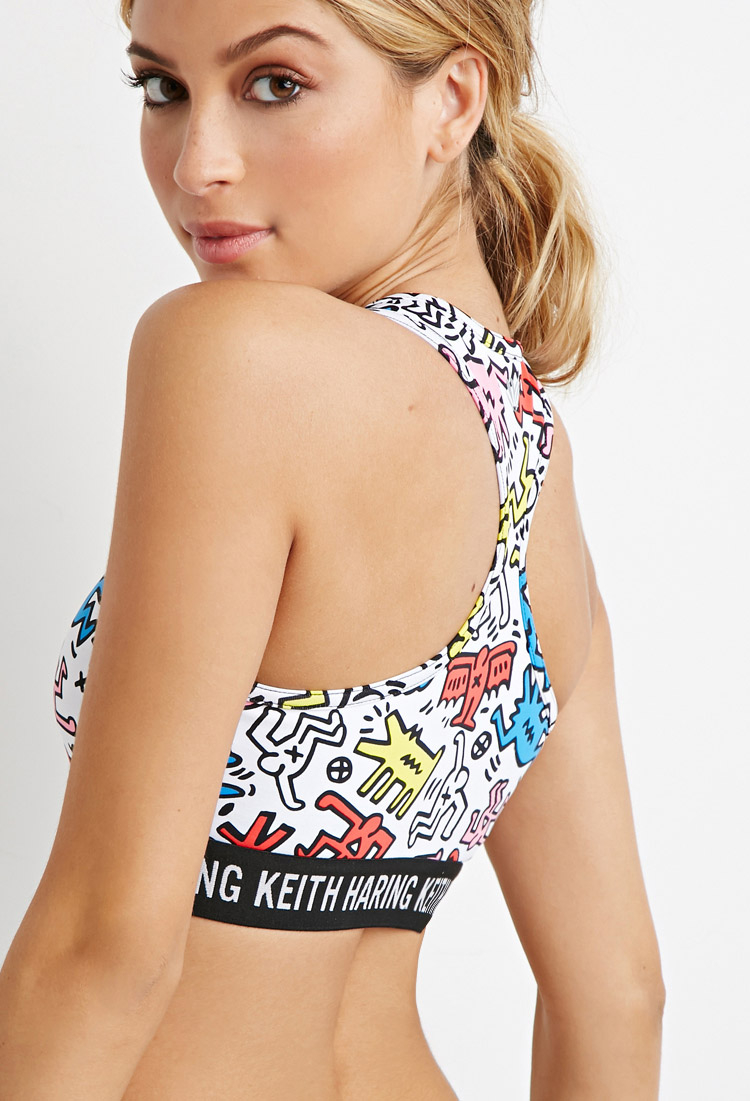 137a11ae59 Lyst - Forever 21 High Impact - Keith Haring Sports Bra
