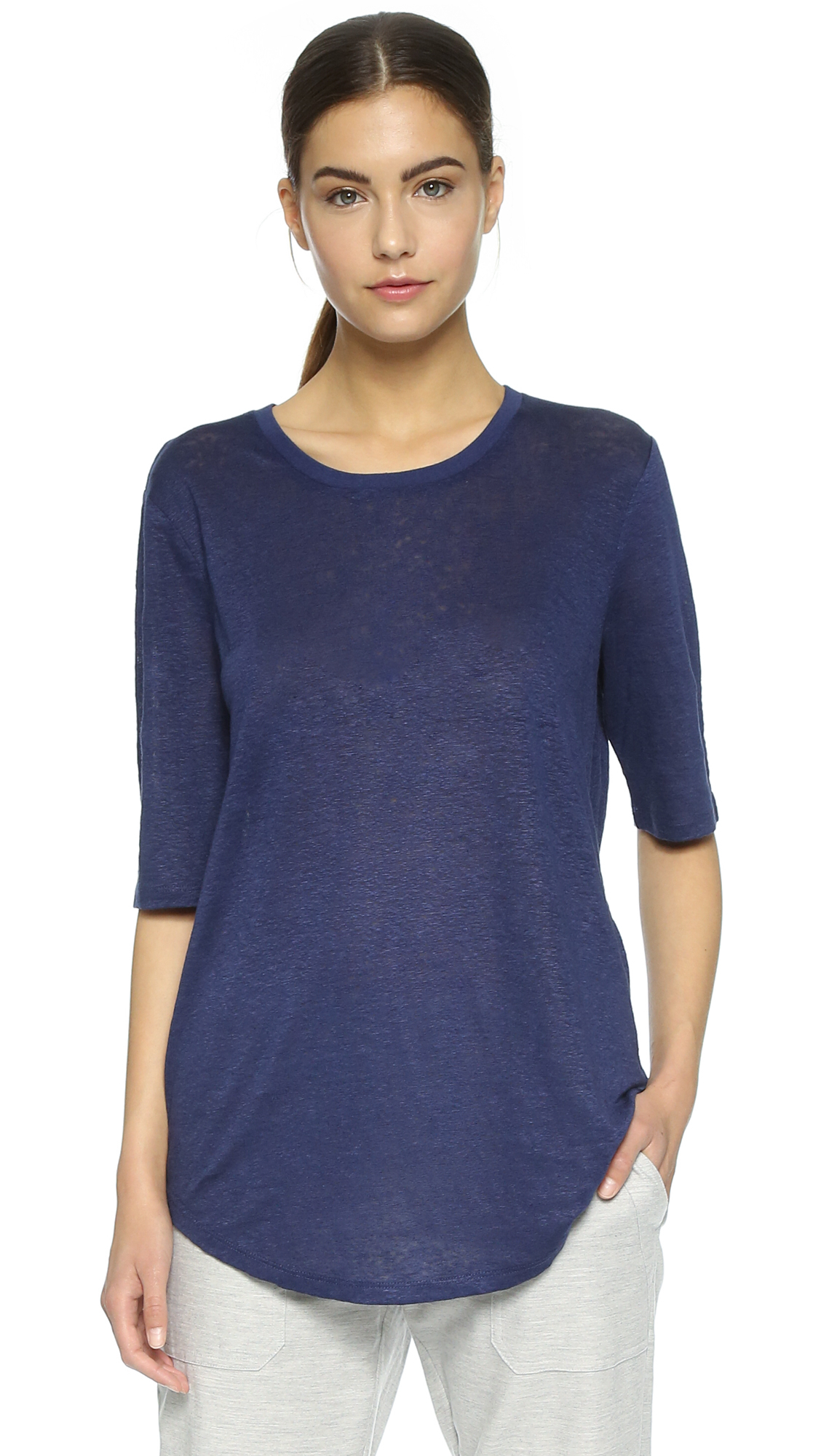 Vince elbow sleeve tee bordeaux in blue lyst for Vince tee shirts sale