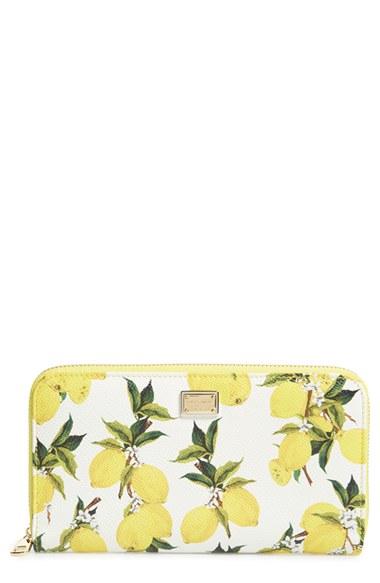 8987f2b060 Lyst - Dolce   Gabbana Lemon Print Zip Around Leather Wallet in Yellow