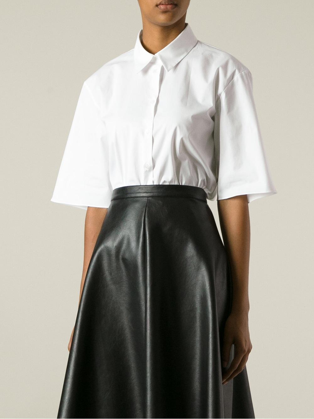 Lyst jil sander navy wide sleeve shirt in white for White military dress shirt