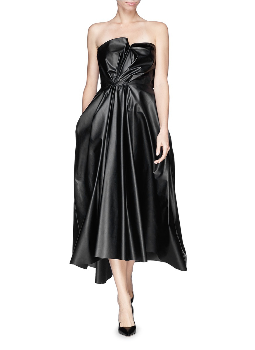 Lanvin Drape Faux Leather Bustier Dress In Black Lyst